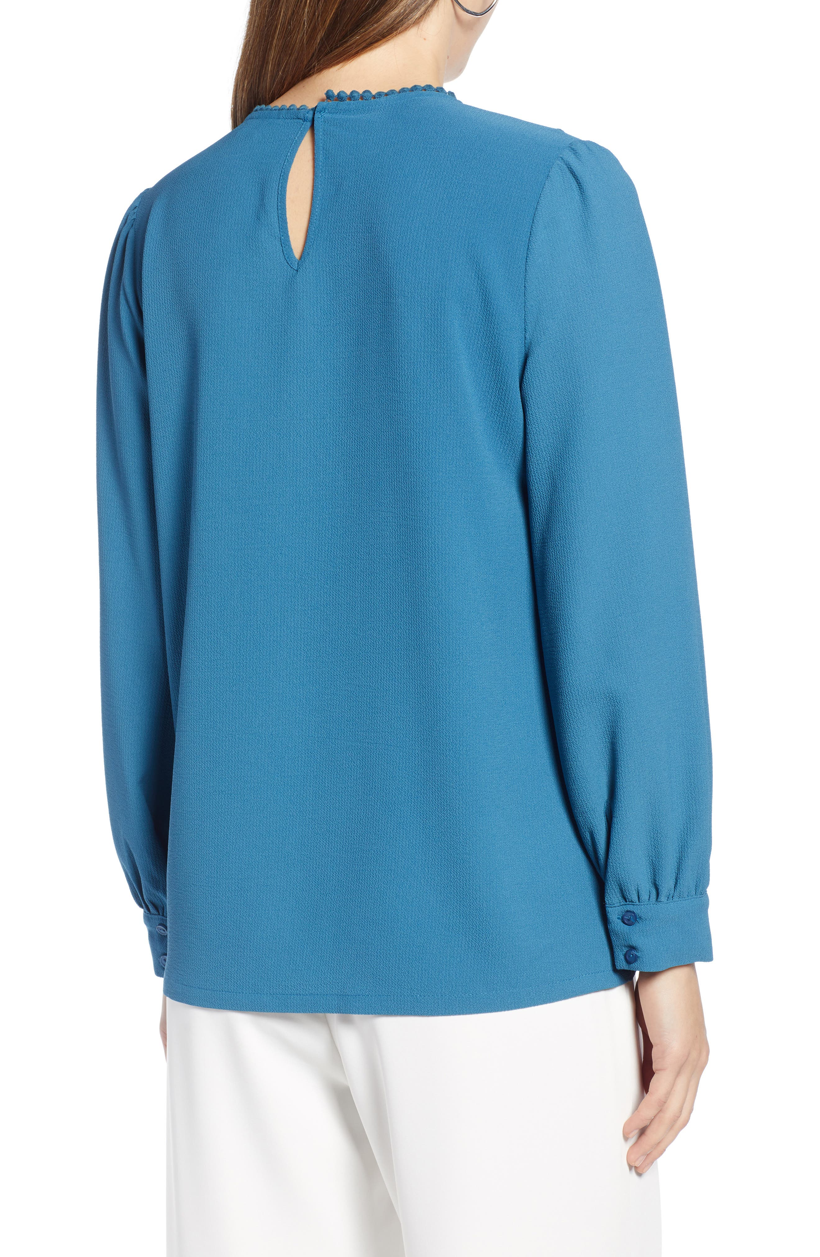 HALOGEN<SUP>®</SUP>, Lace & Crepe Blouse, Alternate thumbnail 2, color, DARK TEAL