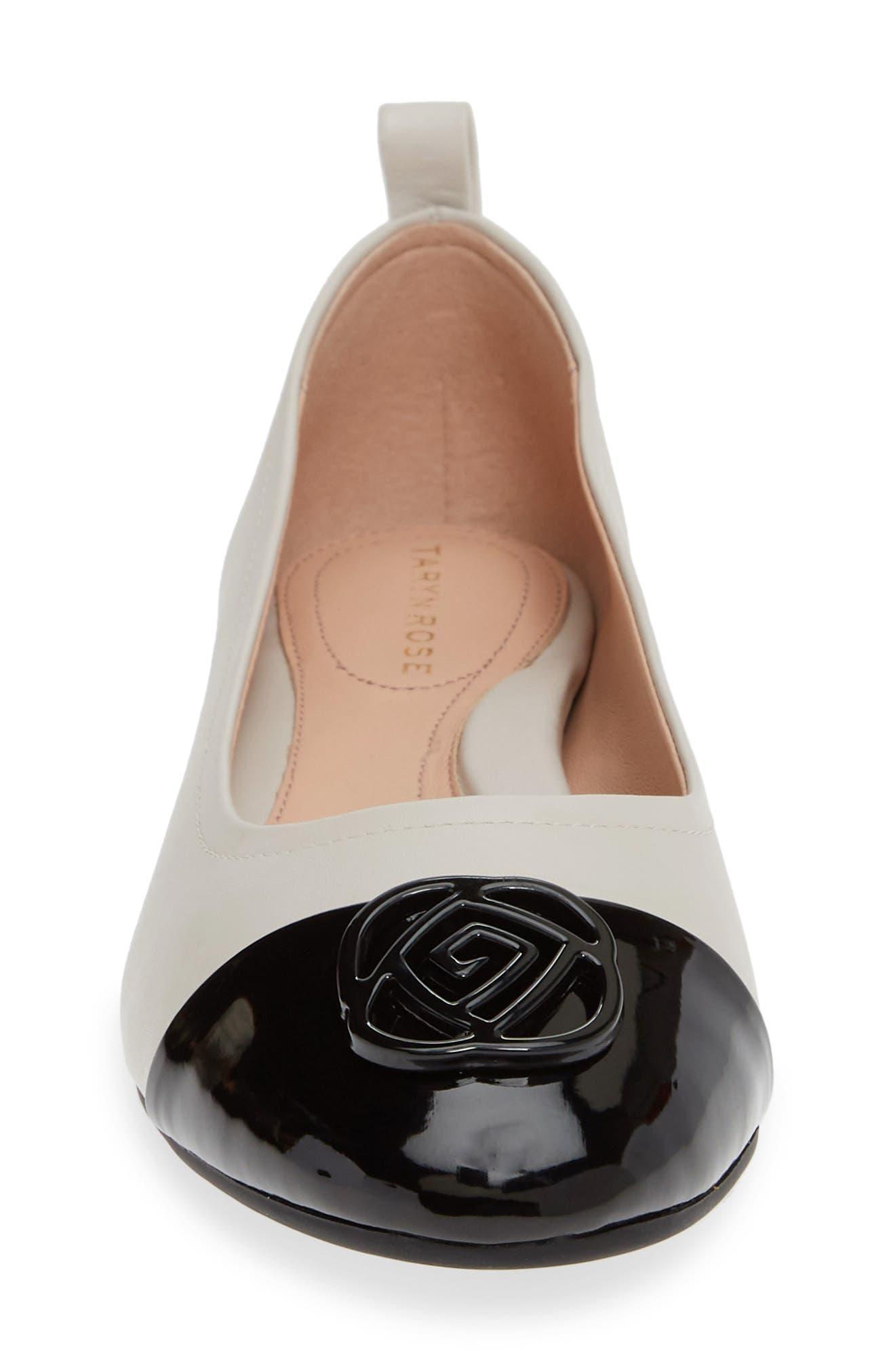 TARYN ROSE, Penelope Cap Toe Ballet Flat, Alternate thumbnail 4, color, CHALK NAPPA LEATHER