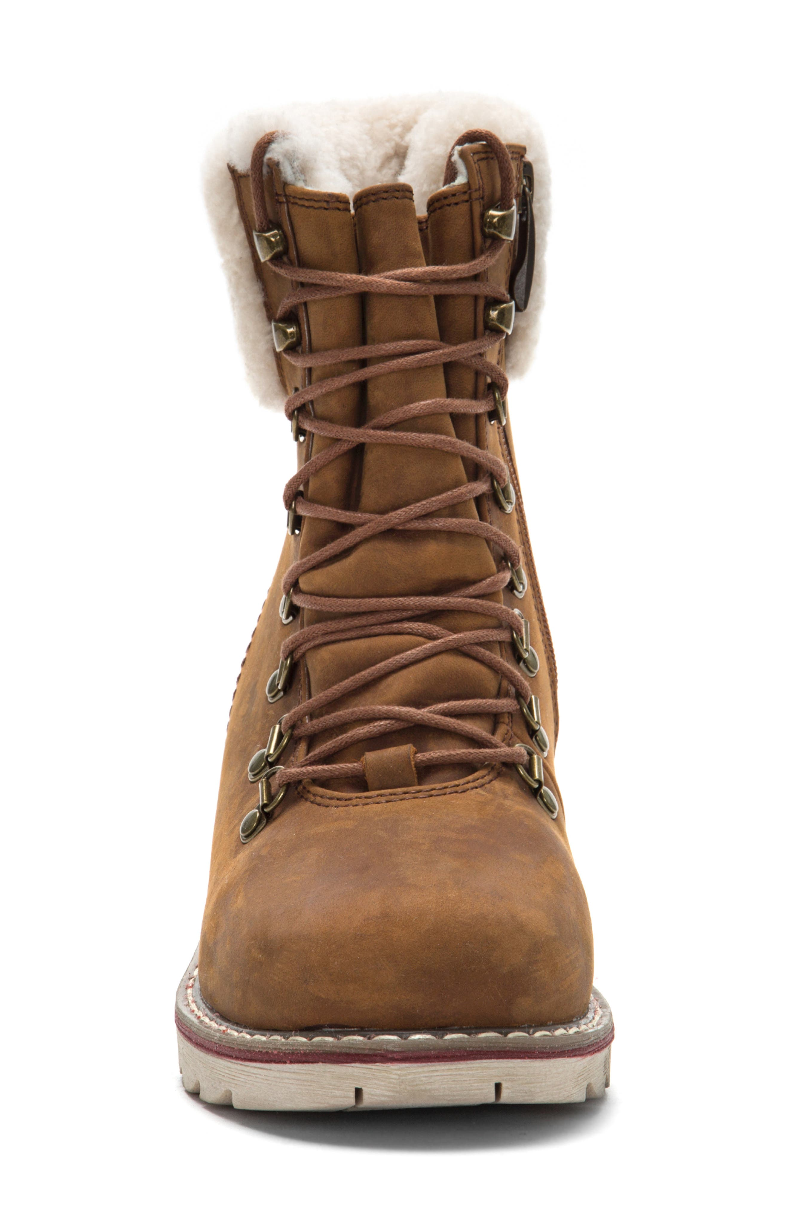 ROYAL CANADIAN, Lethbridge Waterproof Snow Boot with Genuine Shearling Cuff, Alternate thumbnail 3, color, COTTAGE BROWN LEATHER
