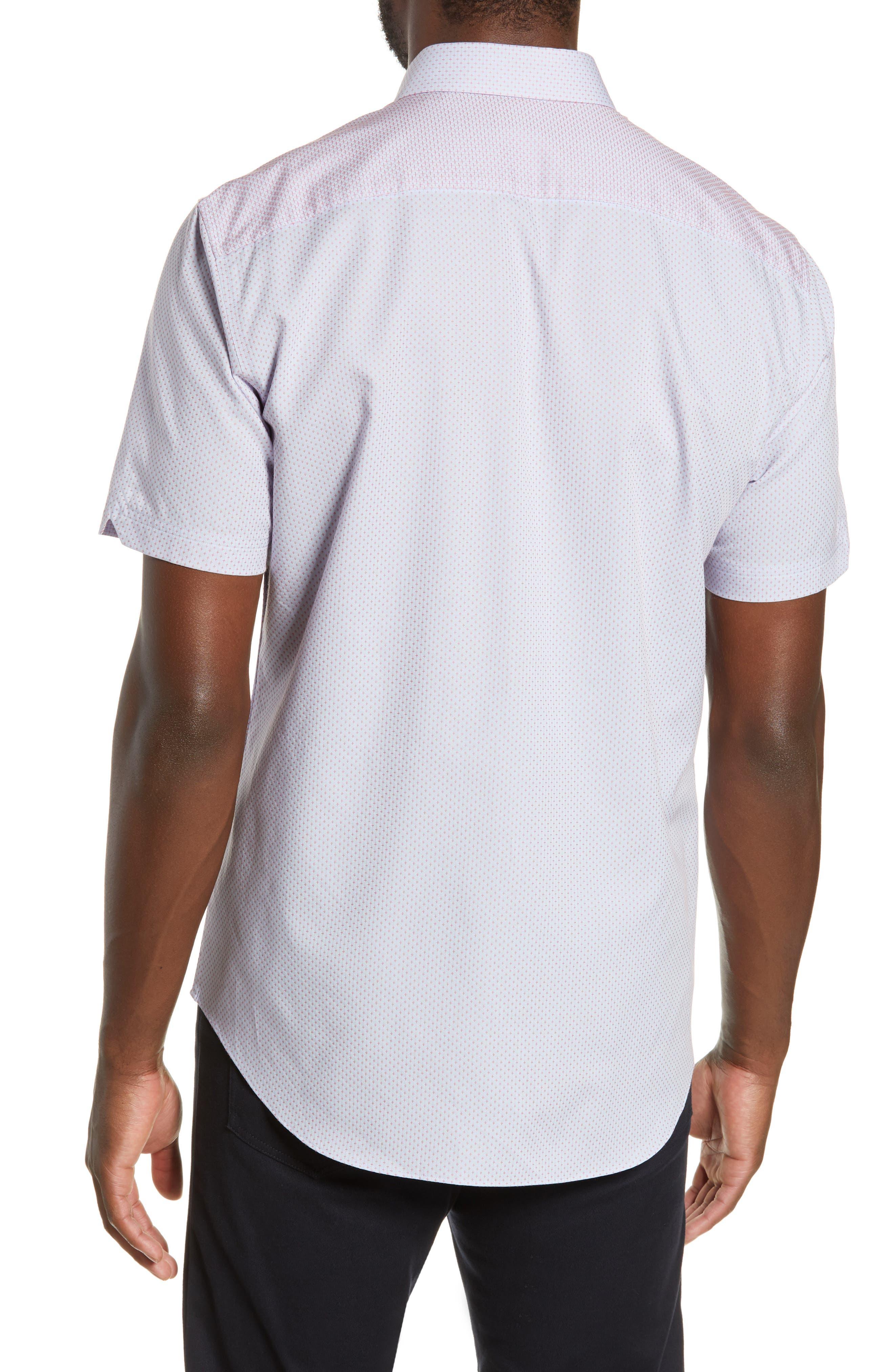 ZACHARY PRELL, McGrew Regular Fit Sport Shirt, Alternate thumbnail 3, color, FLAMINGO