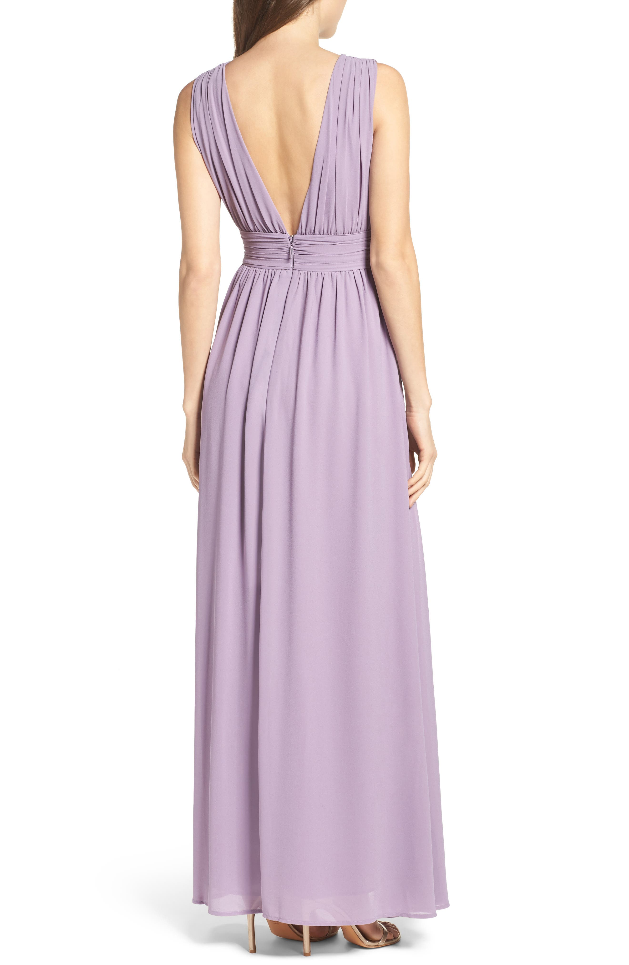 LULUS, Plunging V-Neck Chiffon Gown, Alternate thumbnail 2, color, DUSTY VIOLET