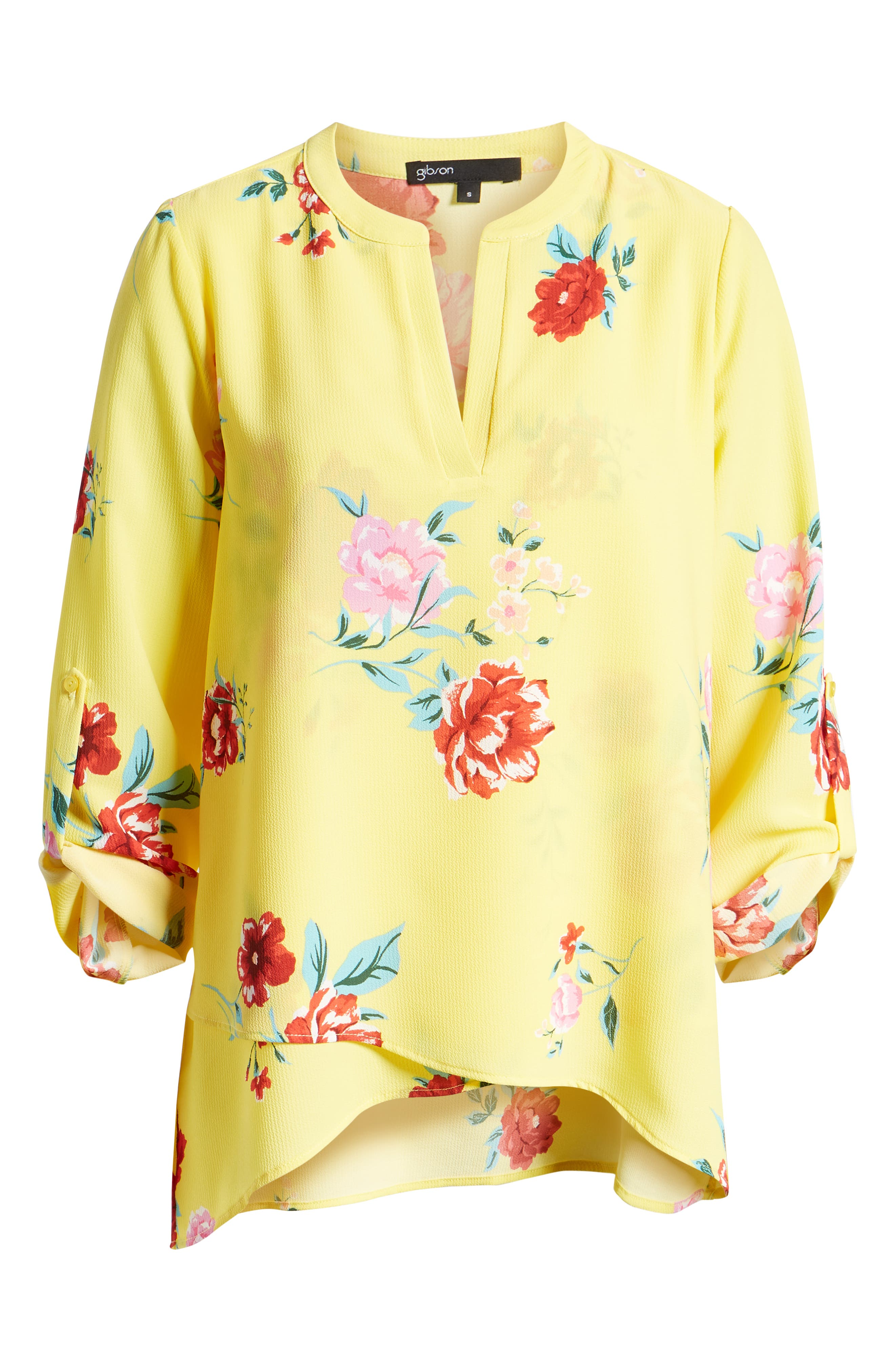 GIBSON, x International Women's Day Erin Cross Front Tunic Blouse, Alternate thumbnail 7, color, VIRGINIA BLOOM