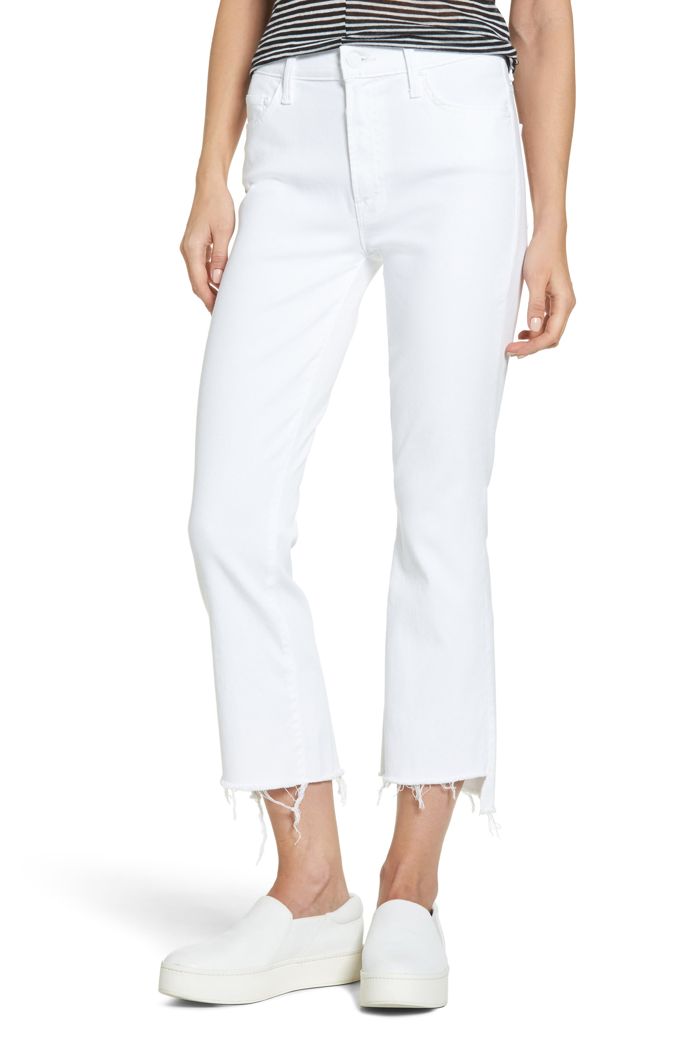 MOTHER, The Insider Step Hem Crop Bootcut Jeans, Main thumbnail 1, color, 100