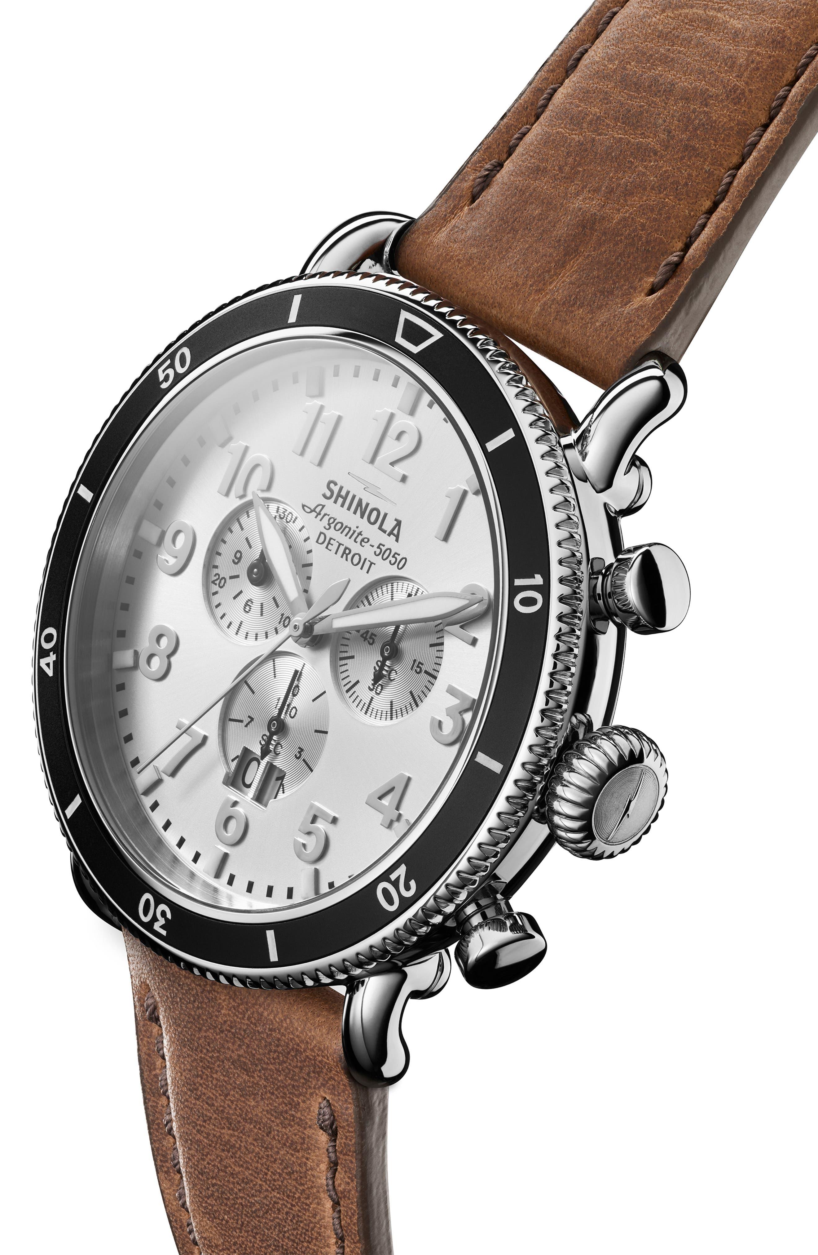 SHINOLA, The Runwell Sport Chronograph Watch, 48mm, Alternate thumbnail 5, color, BRITISH TAN/ SILVER SUNRAY