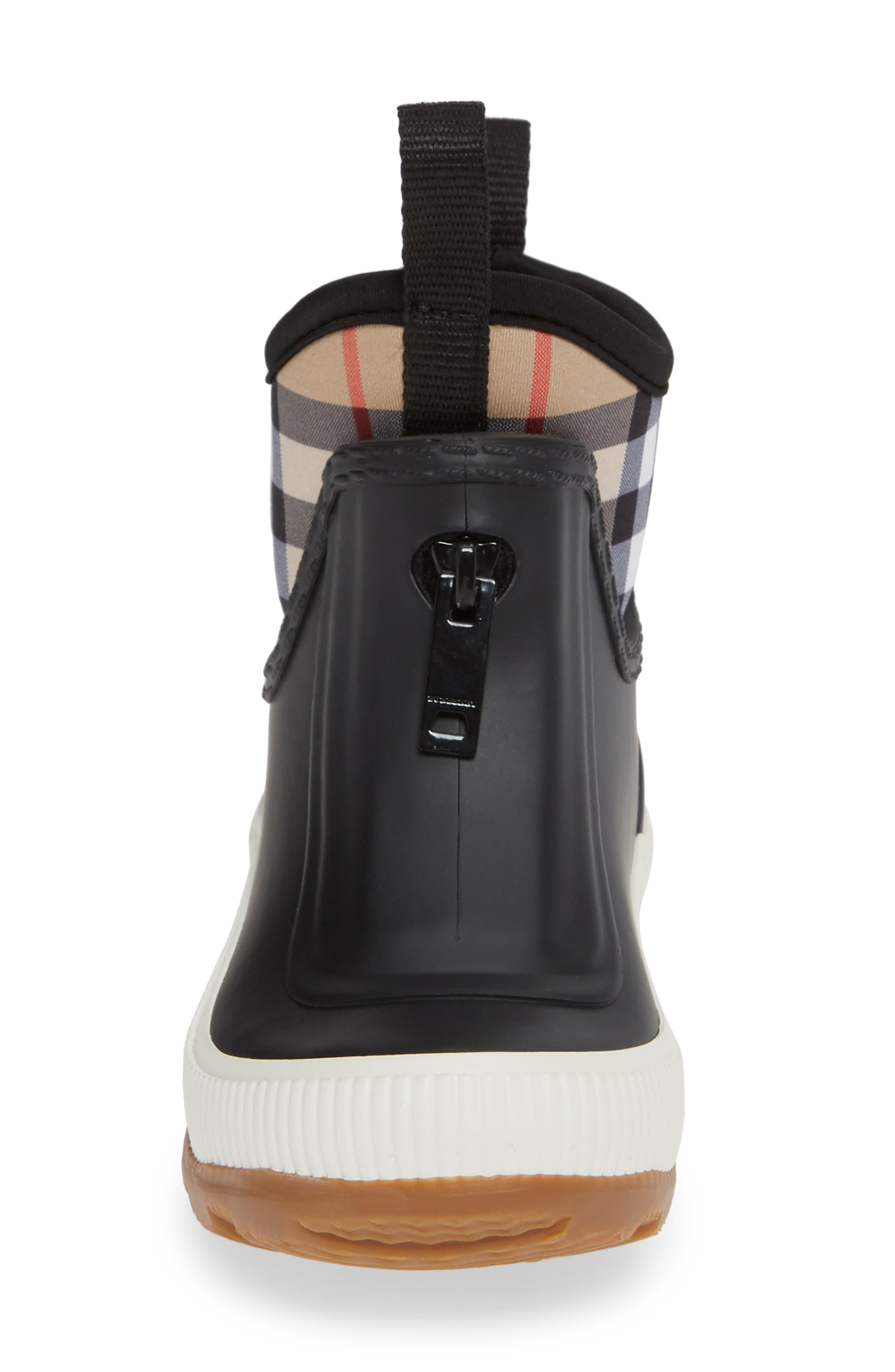 BURBERRY, Flinton Waterproof Rain Boot, Alternate thumbnail 4, color, BLACK