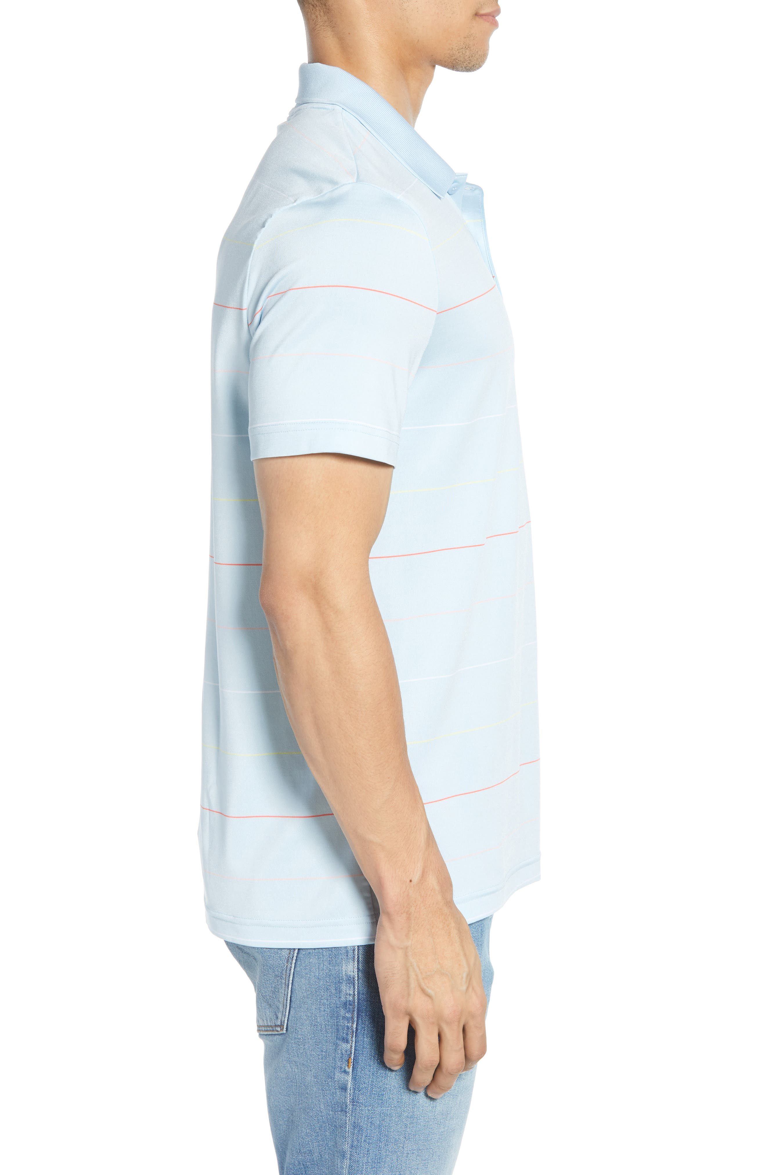 LACOSTE, Ultra Dry Regular Fit Tech Polo, Alternate thumbnail 3, color, DREAM BLUE/ MANGO