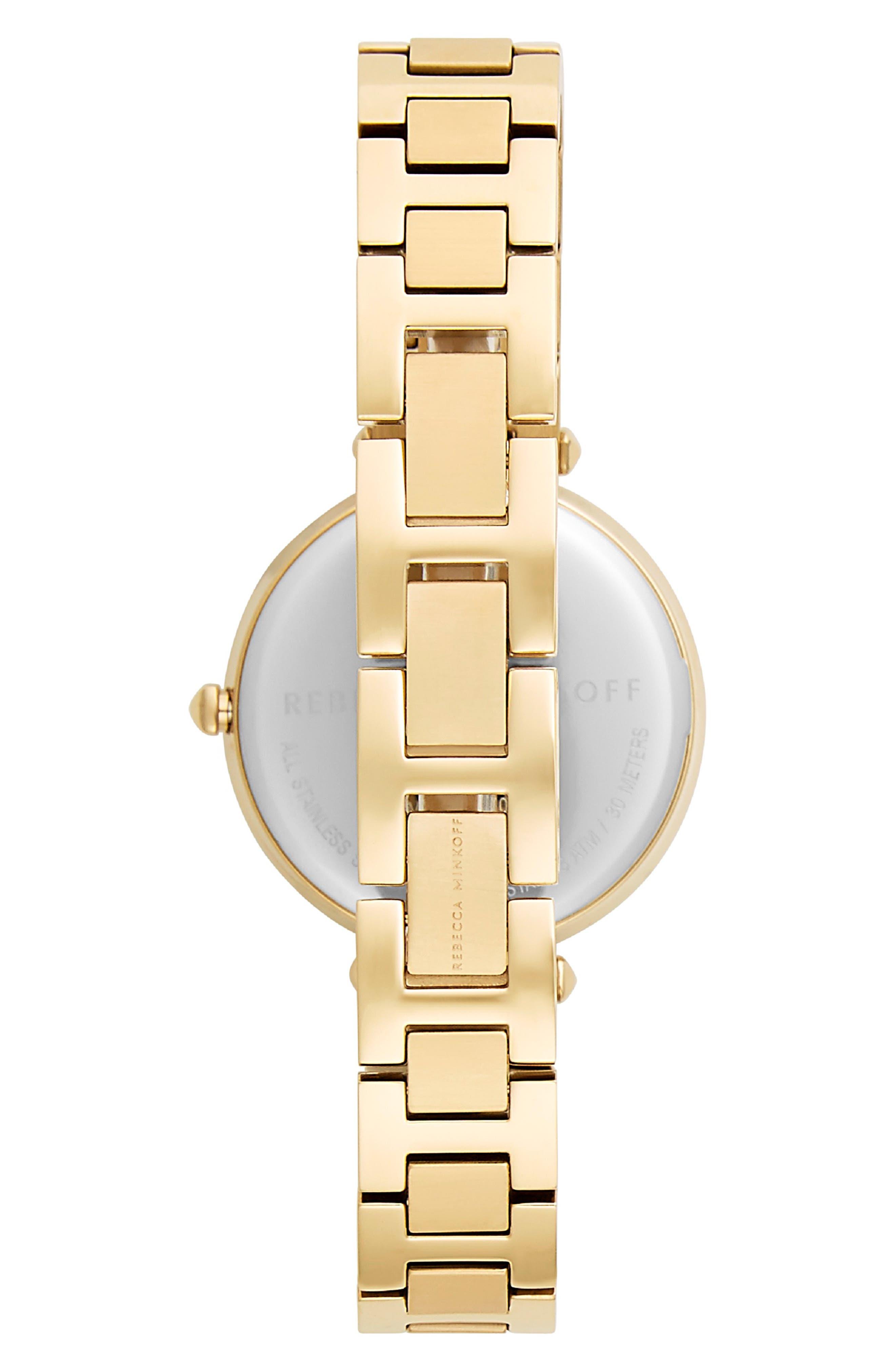 REBECCA MINKOFF, T-Bar Bracelet Strap Watch, 33mm, Alternate thumbnail 2, color, GOLD/ BLACK/ GOLD