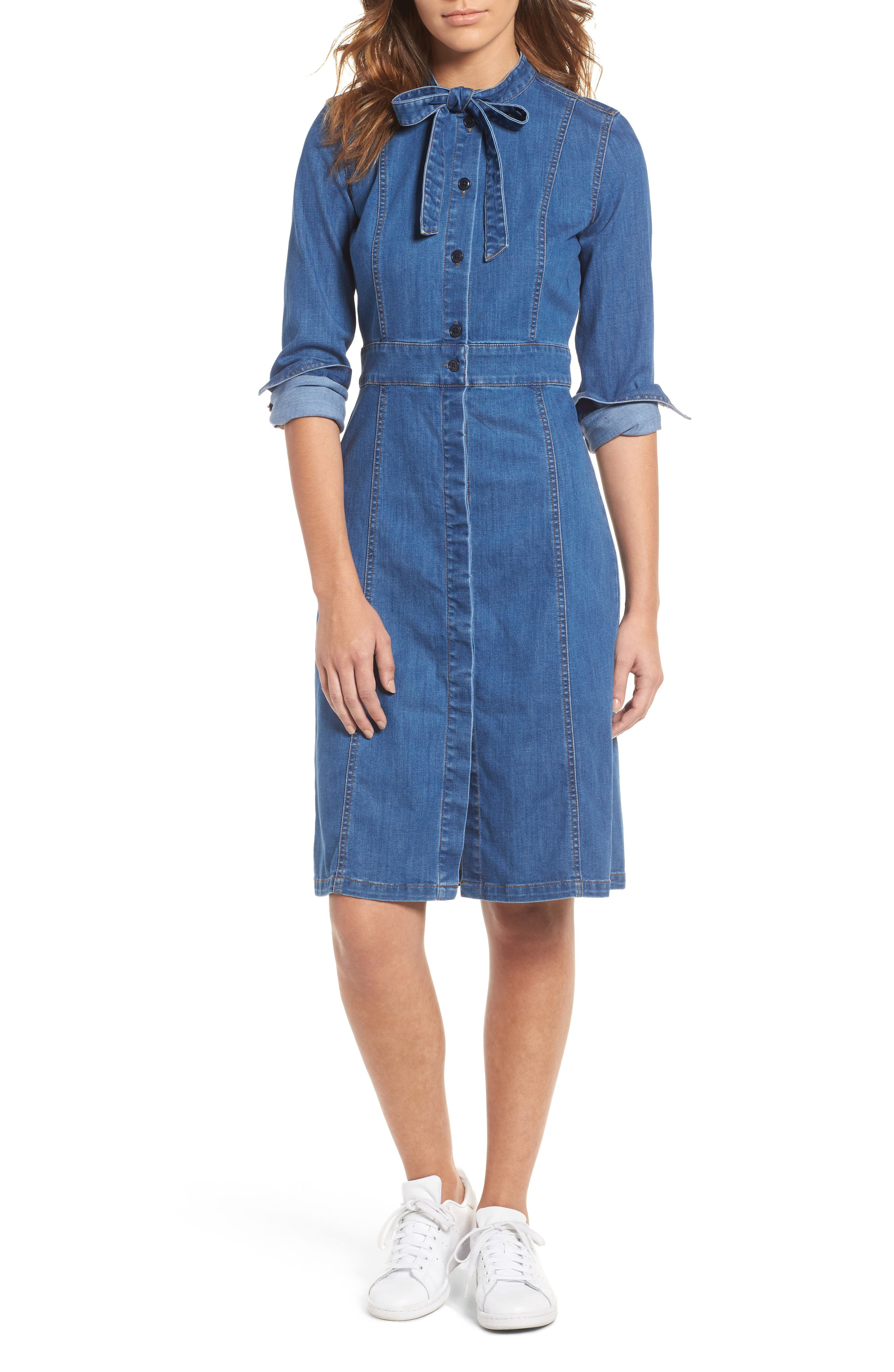 MADEWELL, Denim Tie Neck Shirtdress, Main thumbnail 1, color, 400