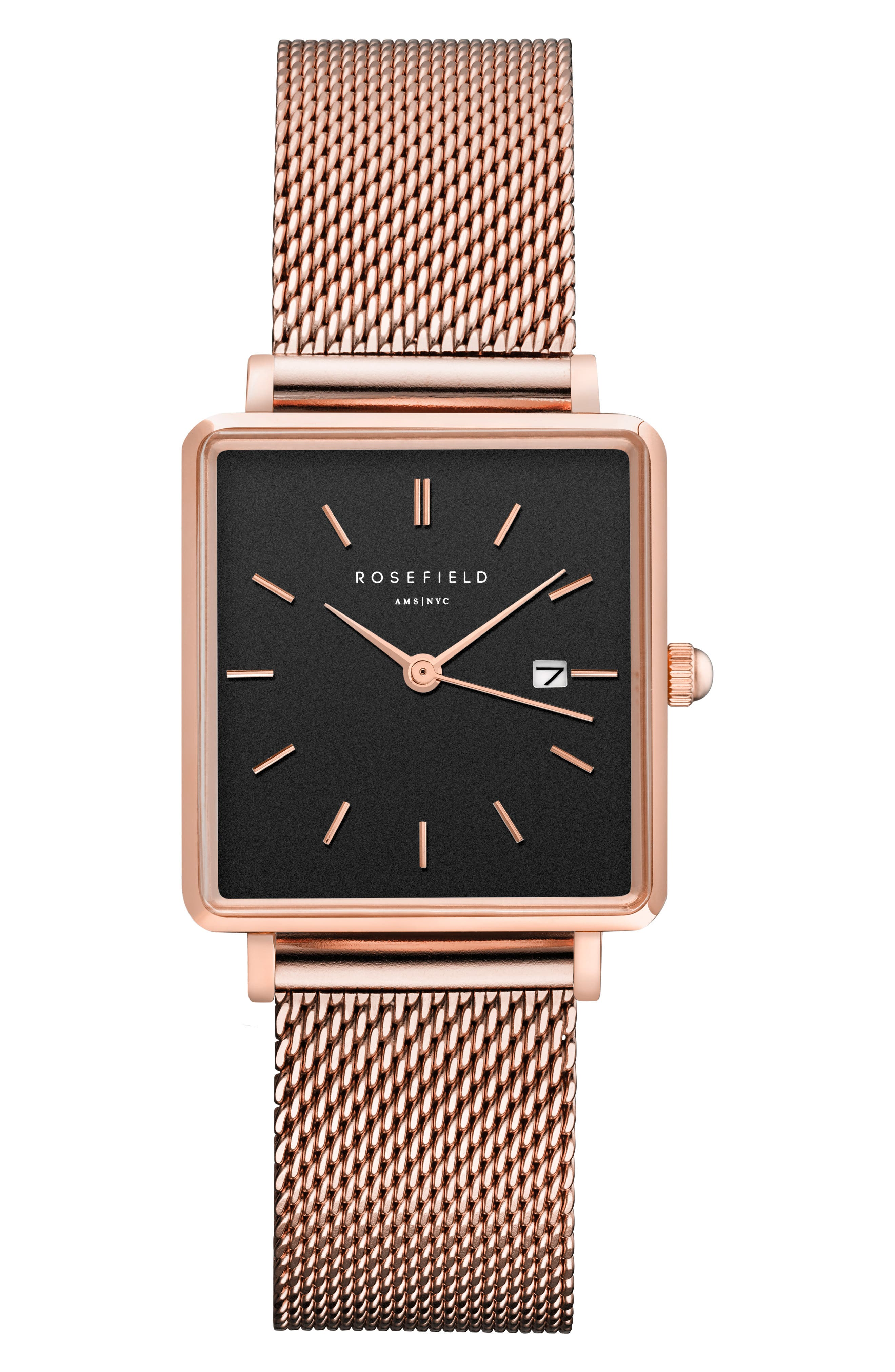 ROSEFIELD, The Boxy Mesh Strap Watch, 26mm x 28mm, Main thumbnail 1, color, ROSE GOLD/ BLACK/ ROSE GOLD