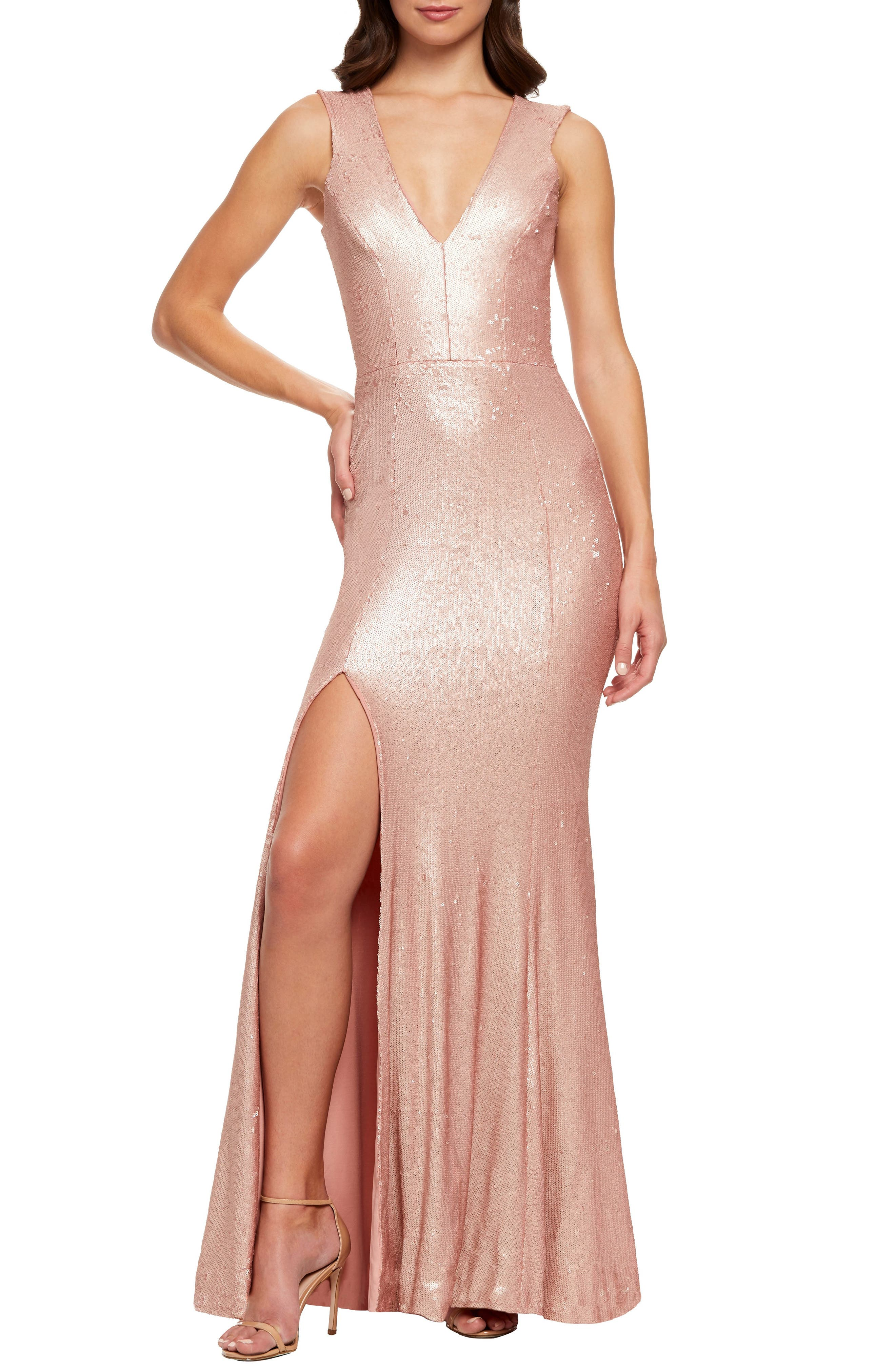 Dress The Population Sandra Plunge Sequin Evening Dress, Pink