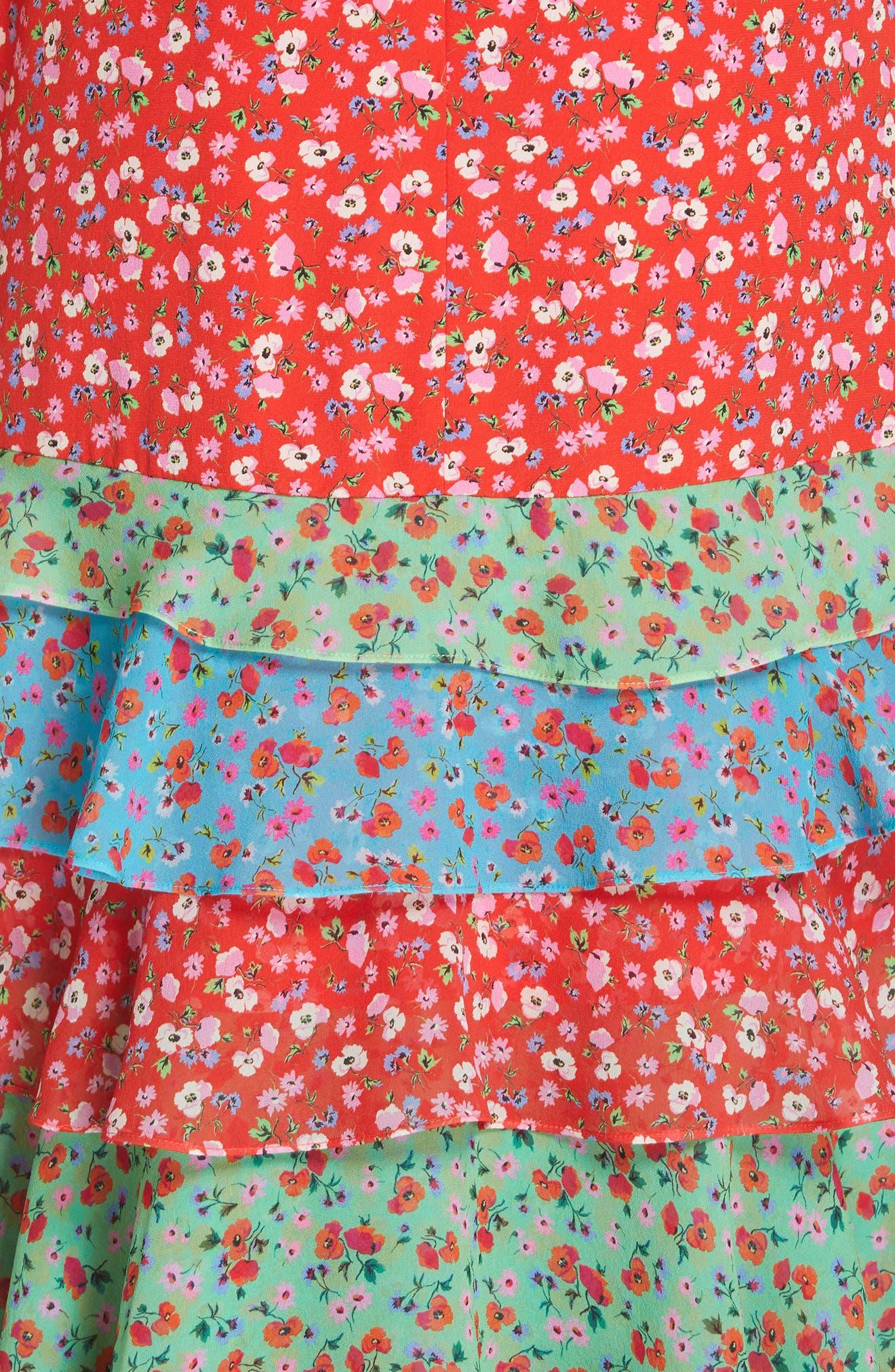 SALONI, Lana Tiered Hem Silk Midi Dress, Alternate thumbnail 5, color, ANENOME