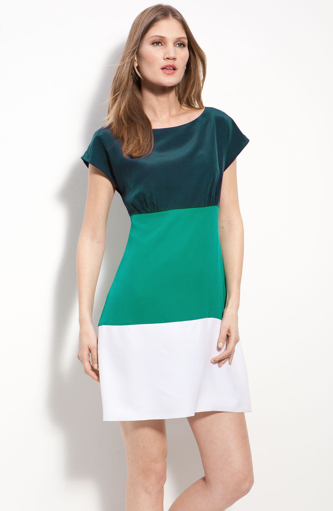 ELIZA J Colorblock Silk Crêpe de Chine Dress, Main, color, 400