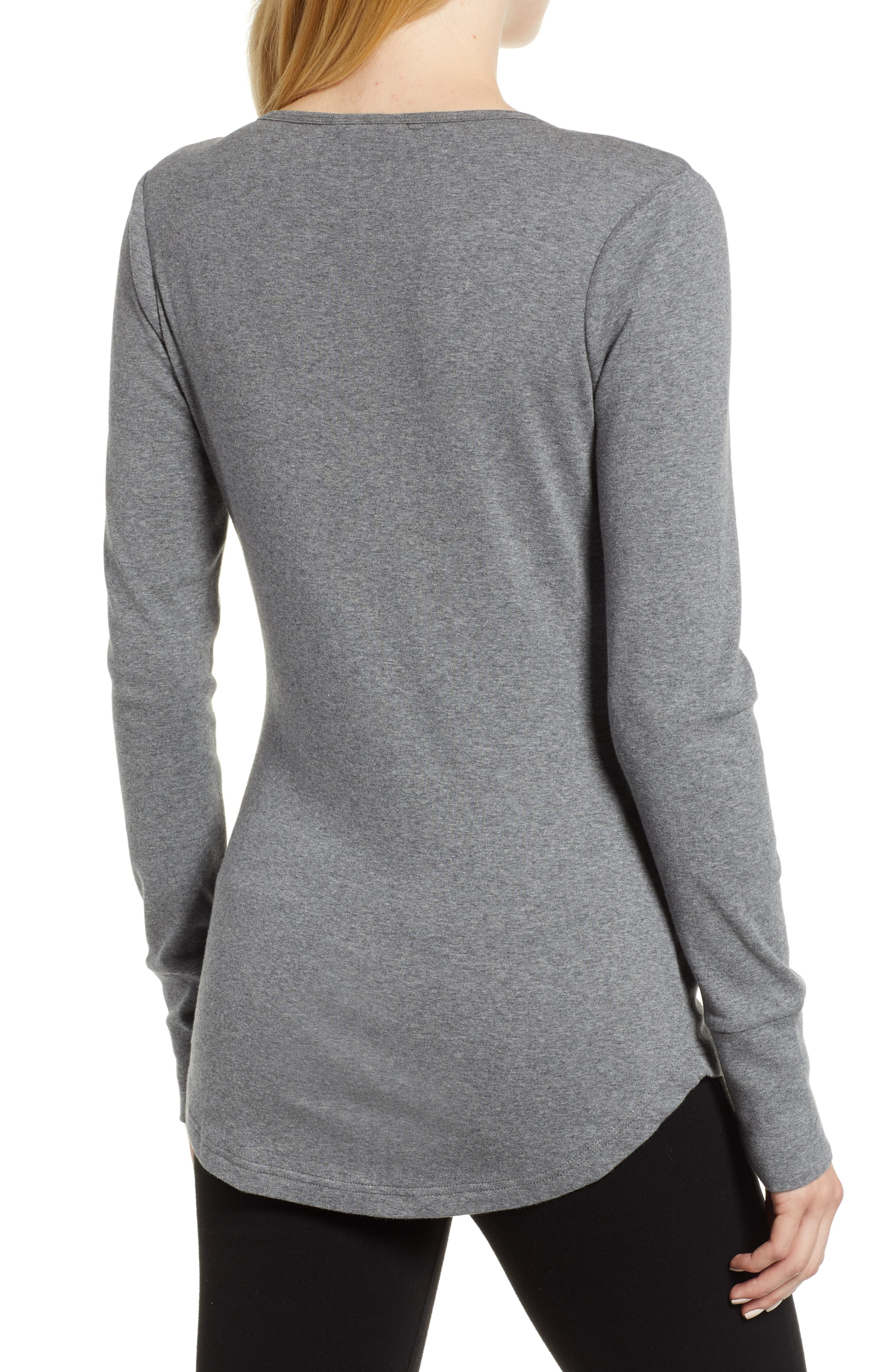 CASLON<SUP>®</SUP>, V-Neck Henley, Alternate thumbnail 2, color, 020