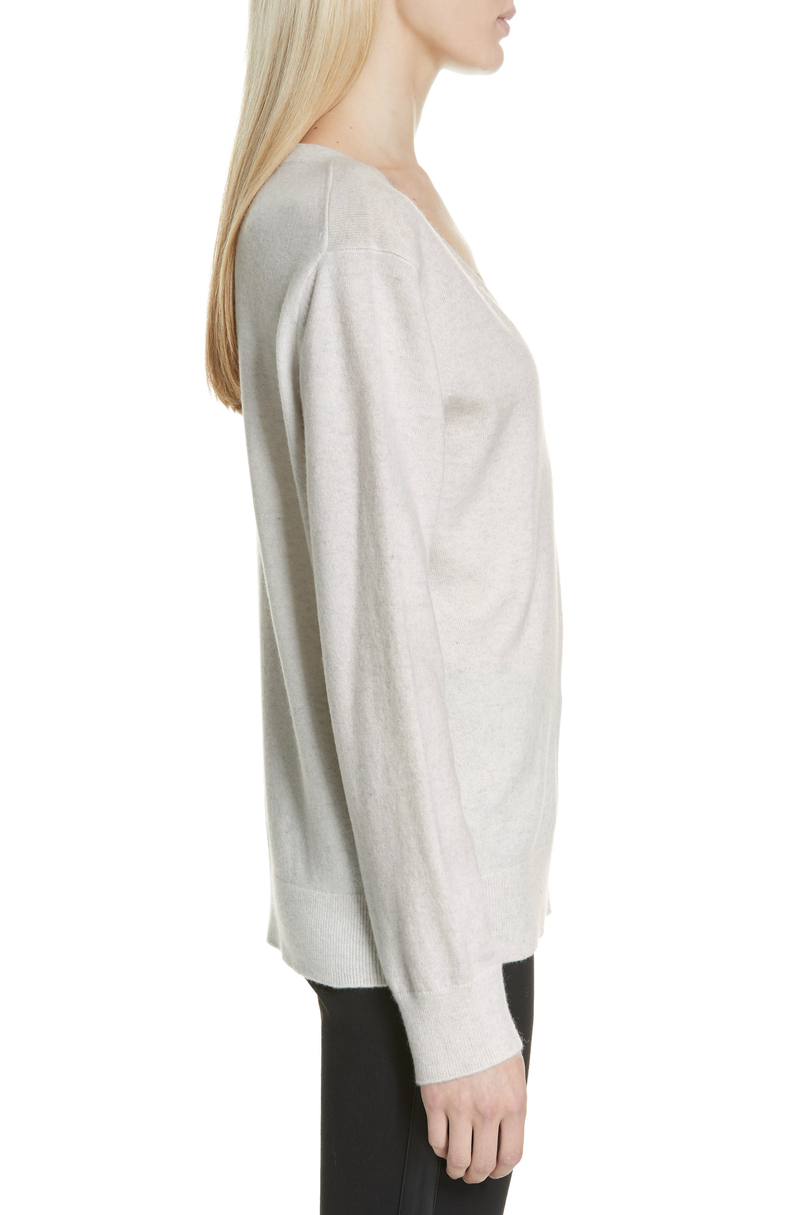VINCE, Weekend V-Neck Cashmere Sweater, Alternate thumbnail 3, color, HEATHER WHITE