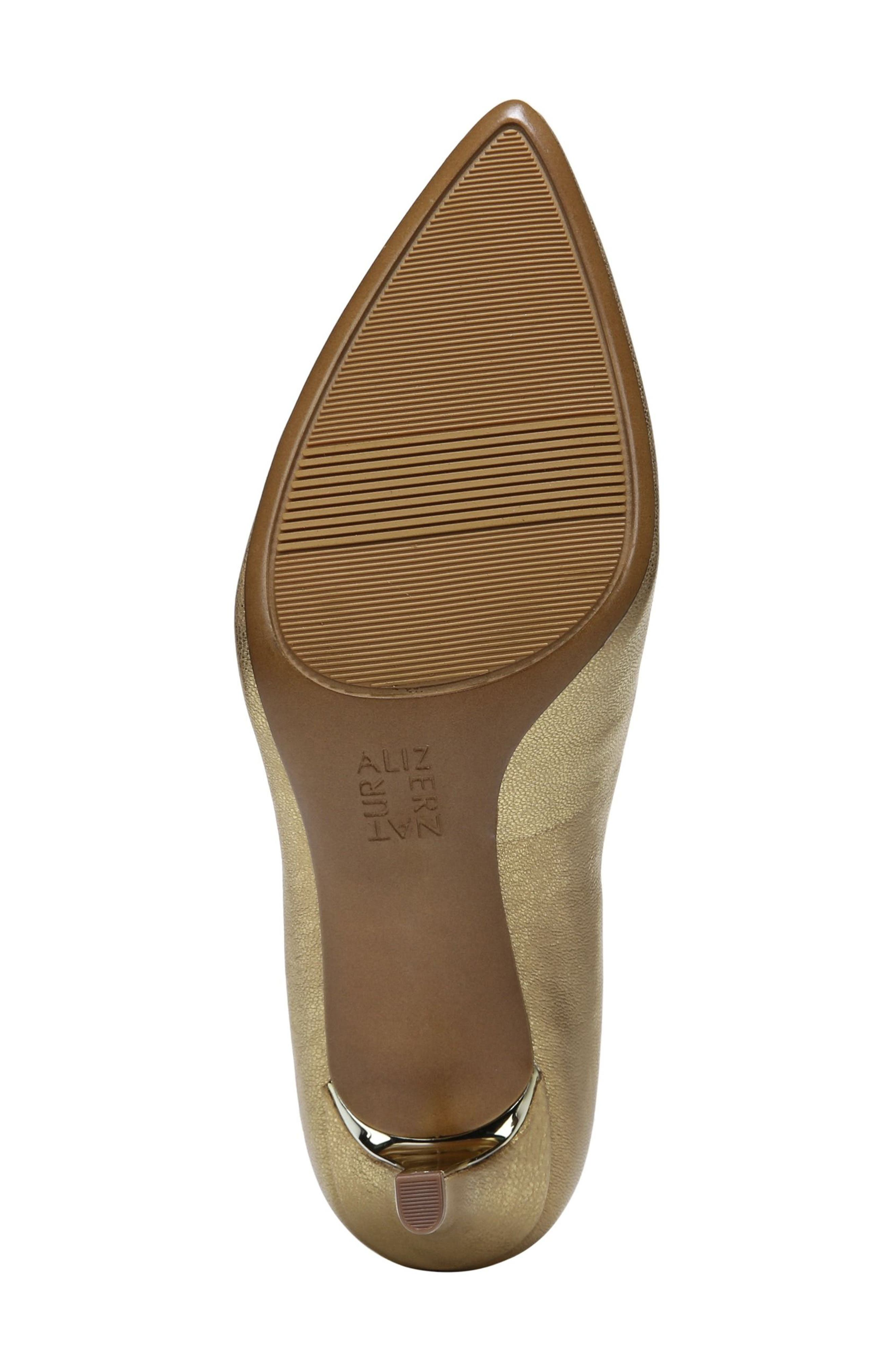 NATURALIZER, Natalie Pointy Toe Pump, Alternate thumbnail 6, color, GOLD LEATHER