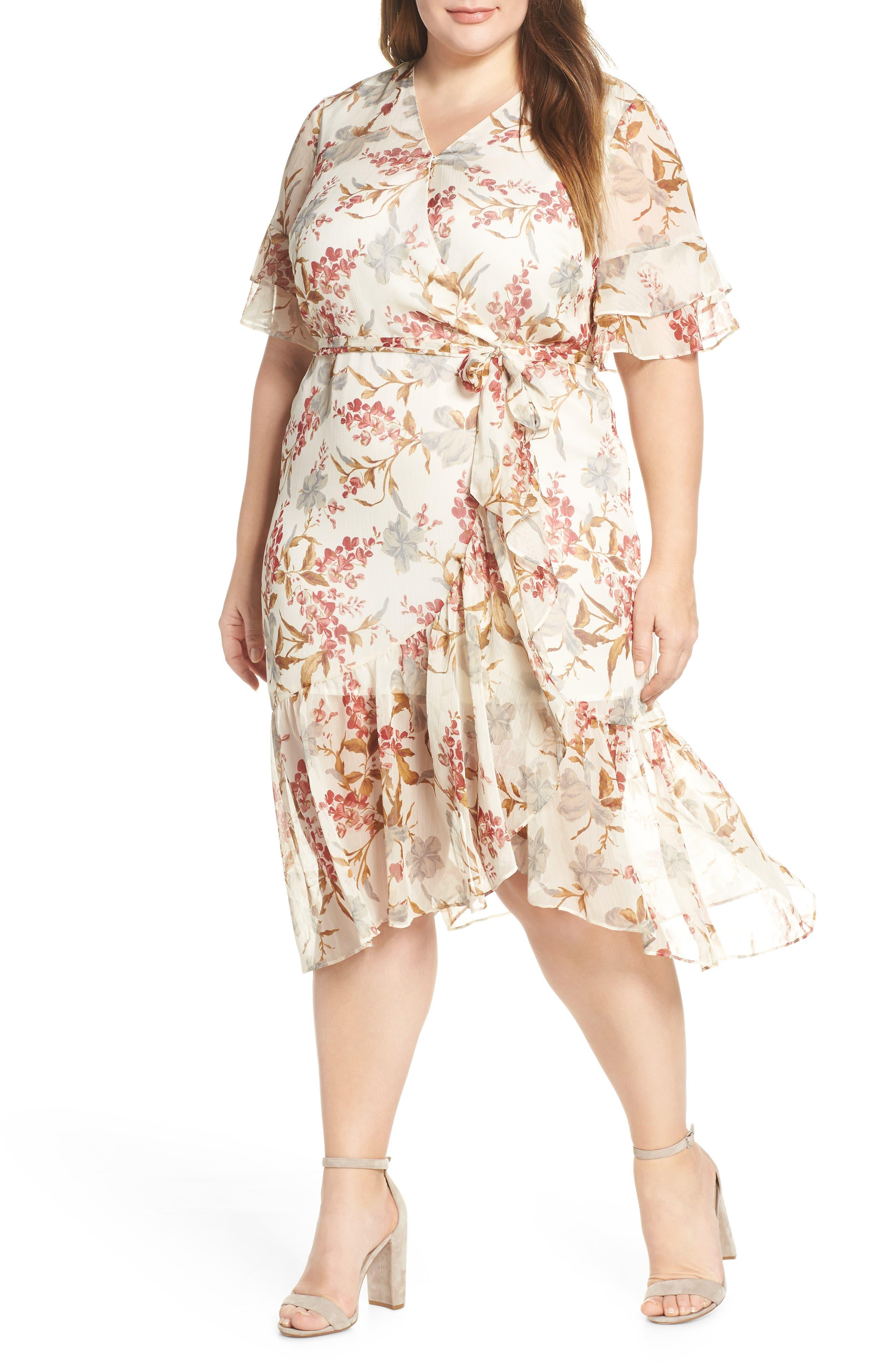 Plus Size Vince Camuto Wildflower Tiered Ruffle Chiffon Dress, Ivory
