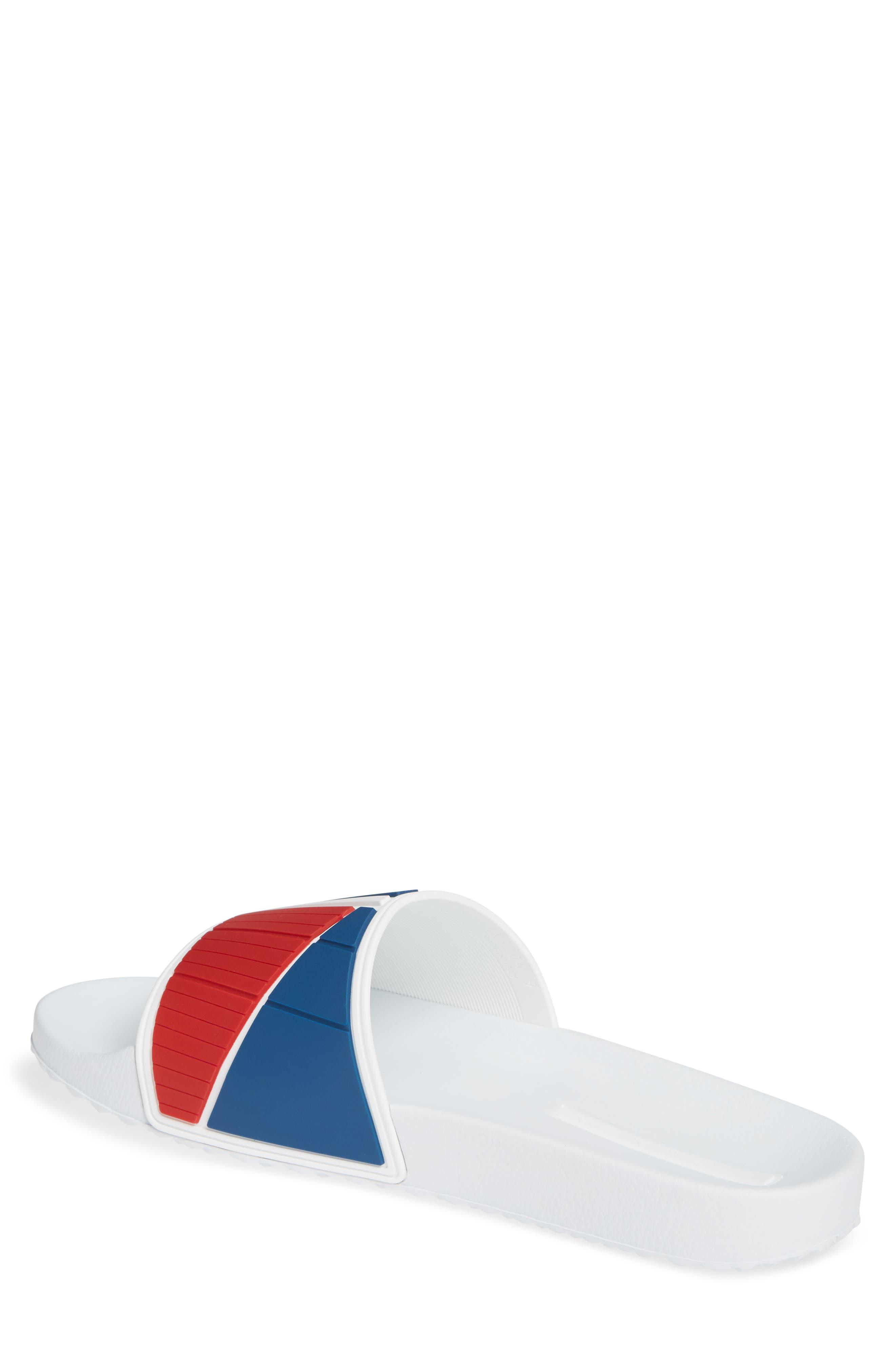 PRADA, Linea Rossa Logo Slide Sandal, Alternate thumbnail 2, color, WHITE/ BLUE