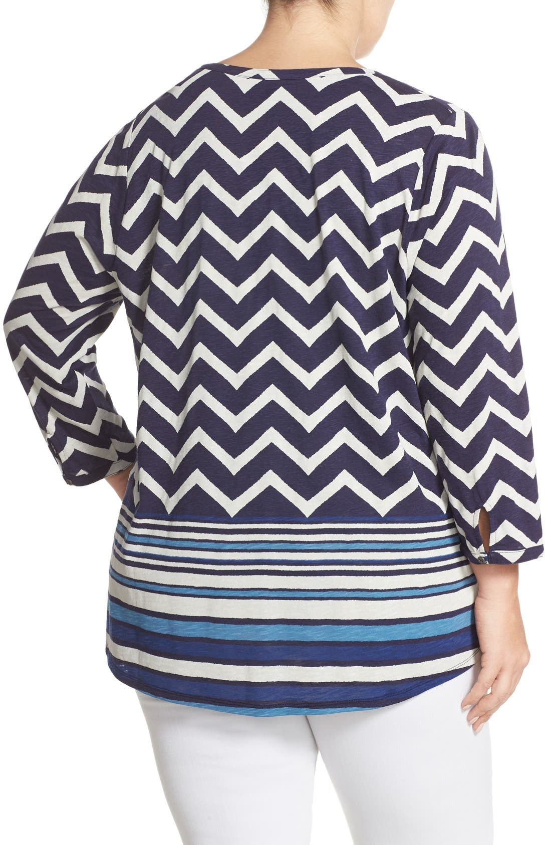 LUCKY BRAND, Chevron Stripe Split Neck Top, Alternate thumbnail 3, color, 400
