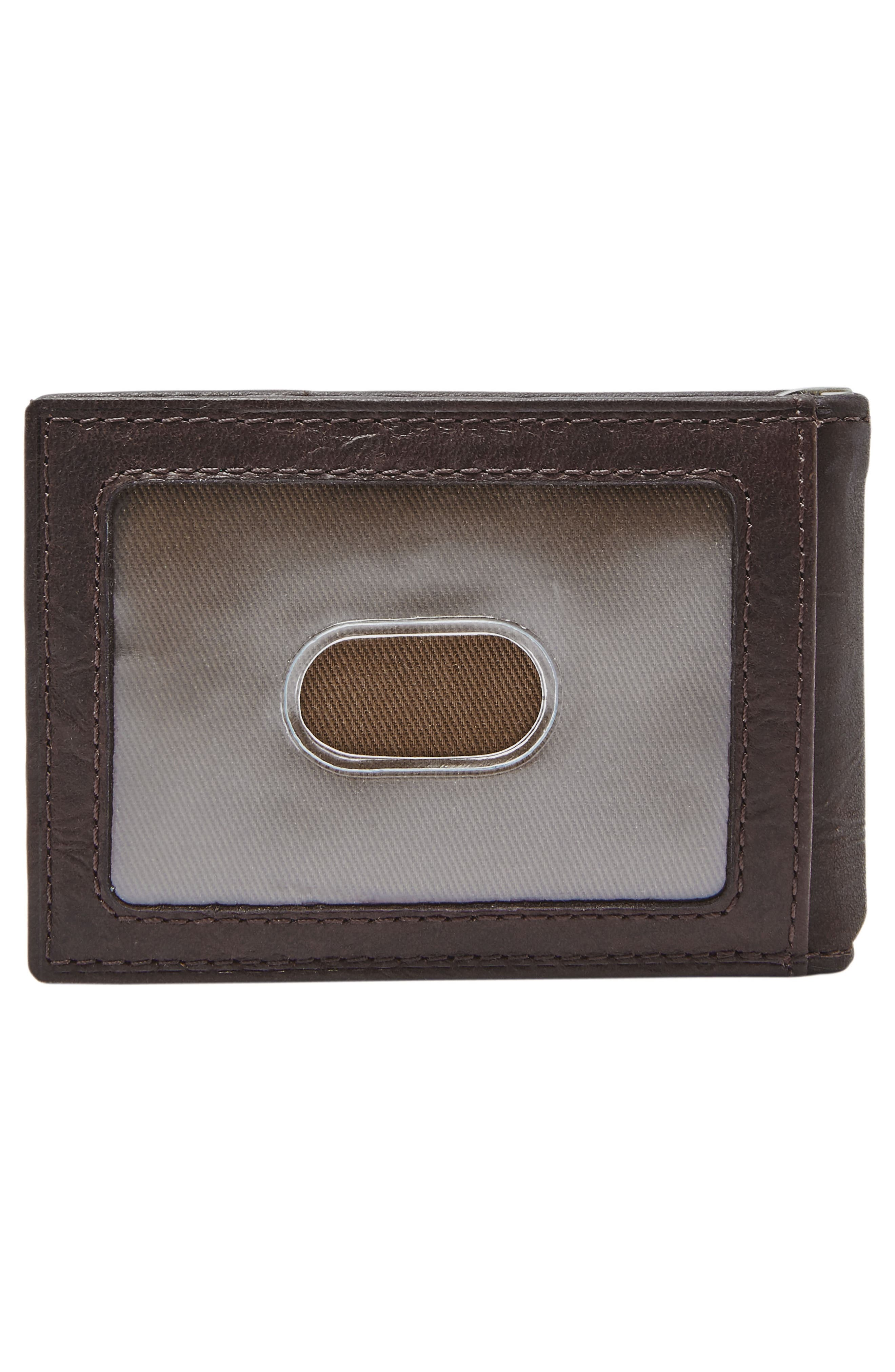 FOSSIL, Neel Leather Money Clip Wallet, Alternate thumbnail 3, color, BROWN
