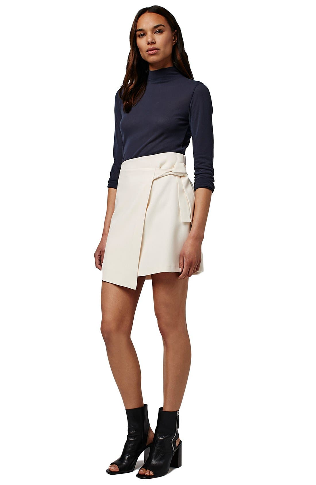 TOPSHOP, Faux Wrap Miniskirt, Alternate thumbnail 4, color, 900
