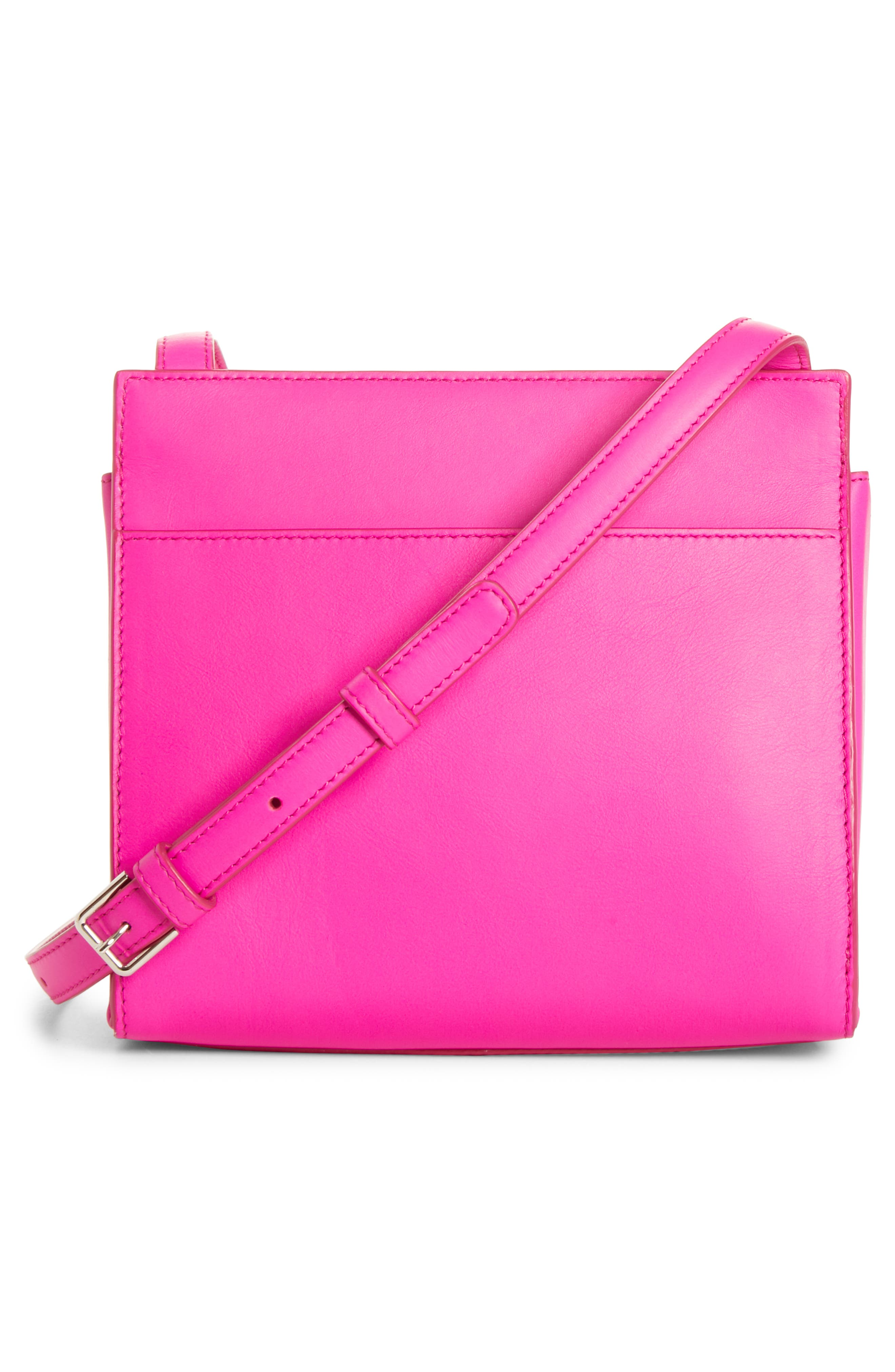CALVIN KLEIN 205W39NYC, Starr Leather Crossbody, Alternate thumbnail 3, color, SHOCKING