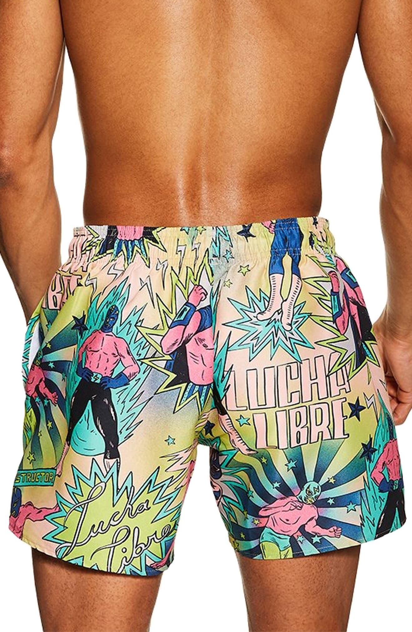TOPMAN, Wrestler Print Swim Trunks, Alternate thumbnail 2, color, BRIGHT GREEN MULTI