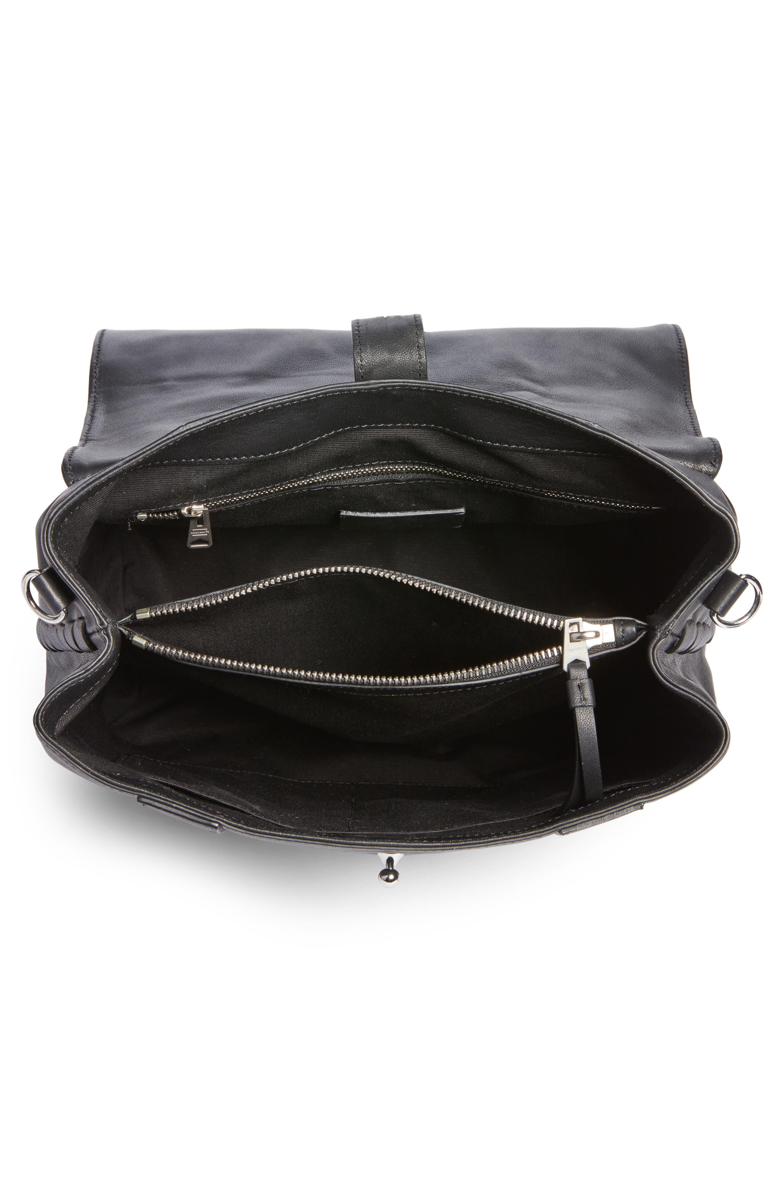 ALLSAINTS, Fin Leather Backpack, Alternate thumbnail 4, color, BLACK