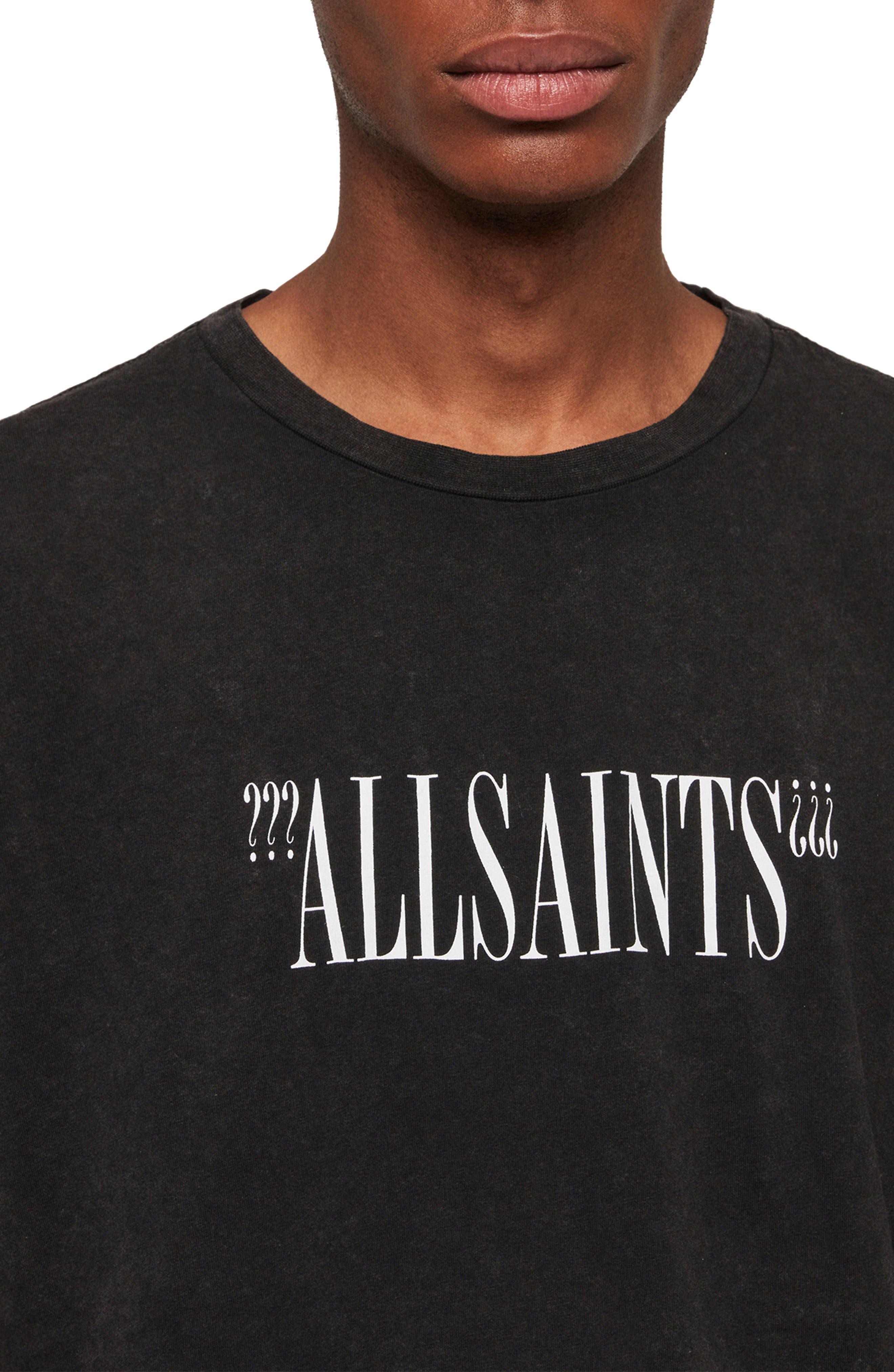 ALLSAINTS, Brackets Classic Fit Crewneck T-Shirt, Alternate thumbnail 4, color, ACID WASHED BLACK