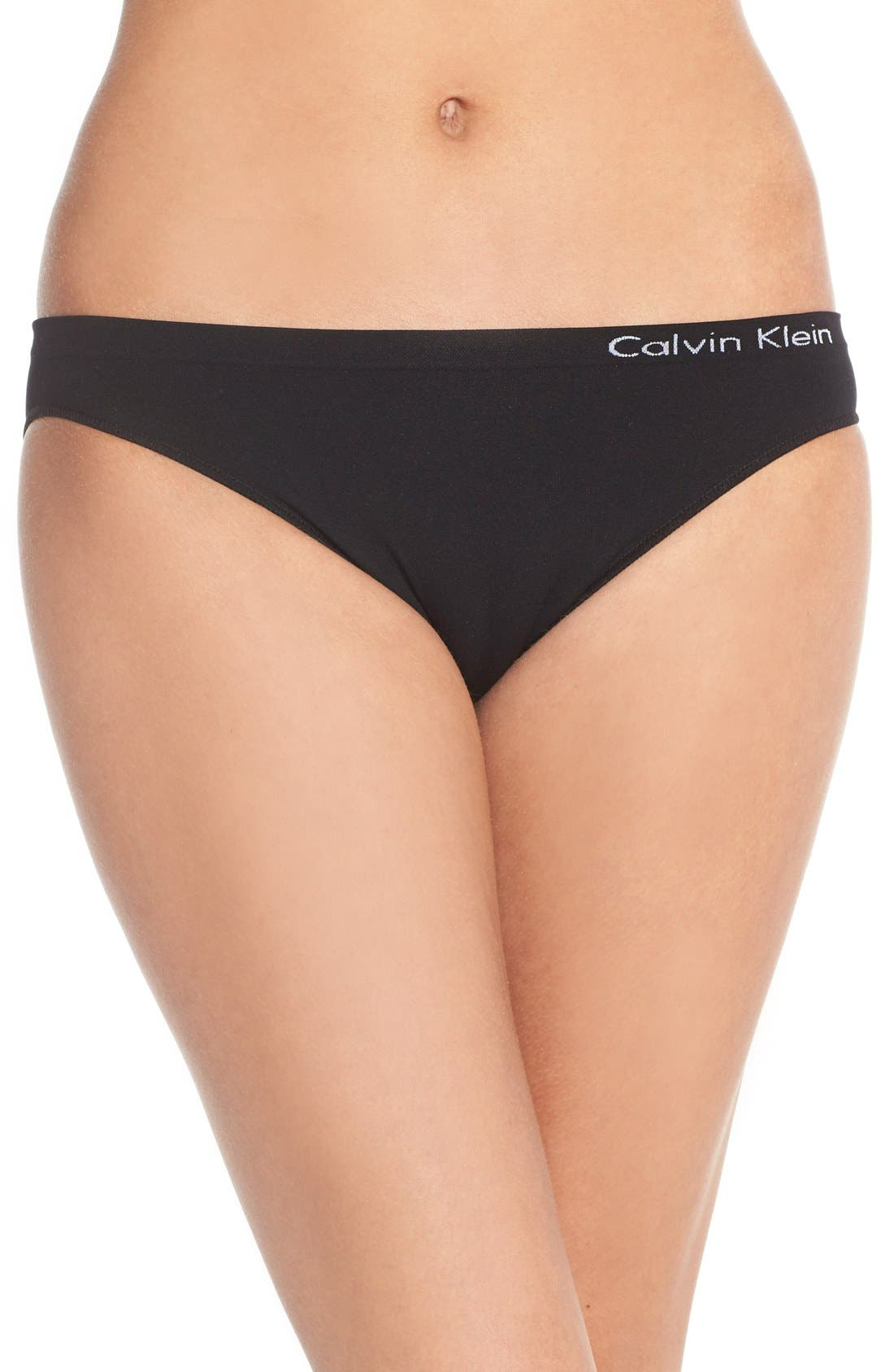 CALVIN KLEIN, 'Pure' Seamless Bikini, Main thumbnail 1, color, BLACK