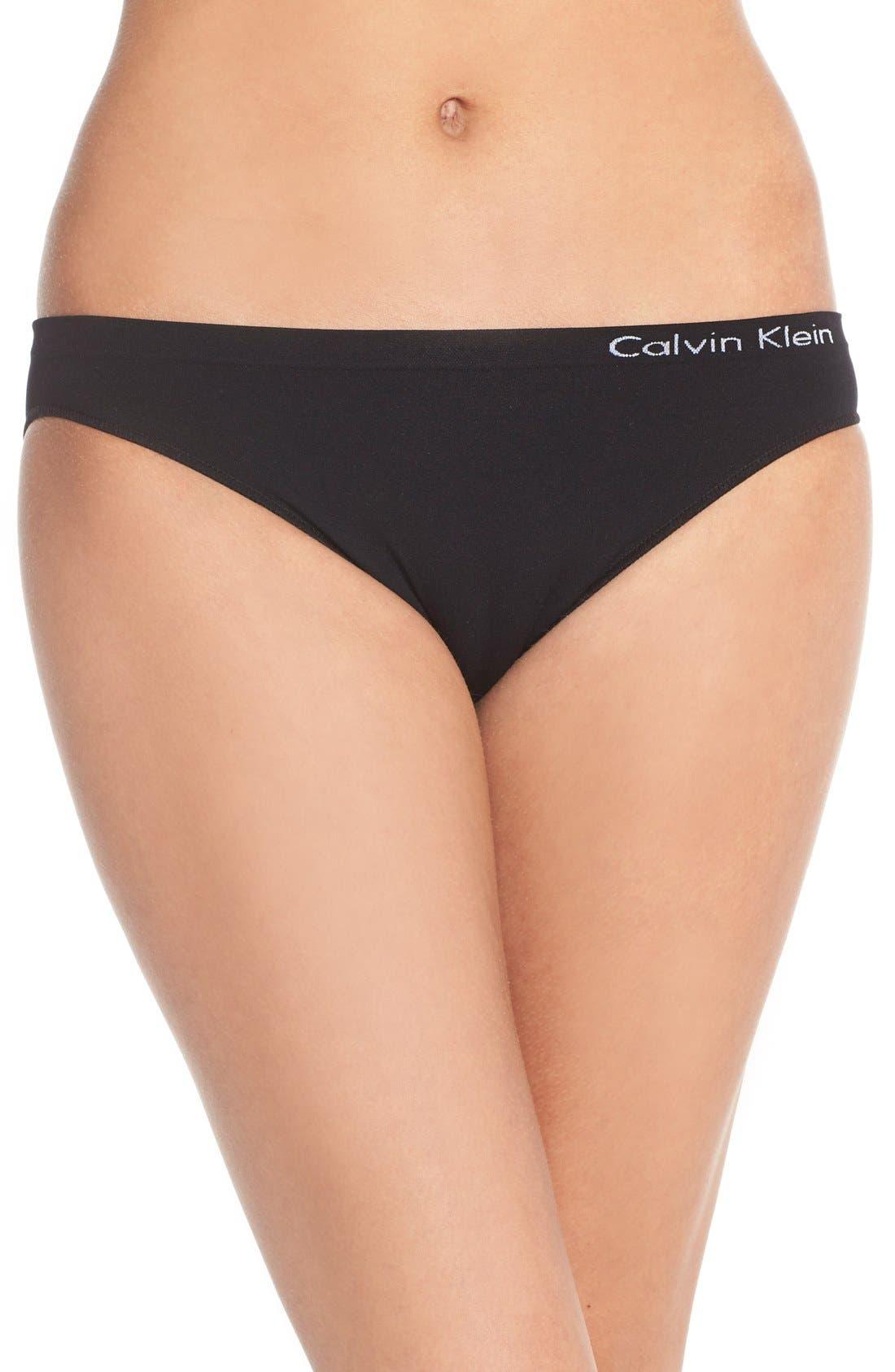 CALVIN KLEIN 'Pure' Seamless Bikini, Main, color, BLACK