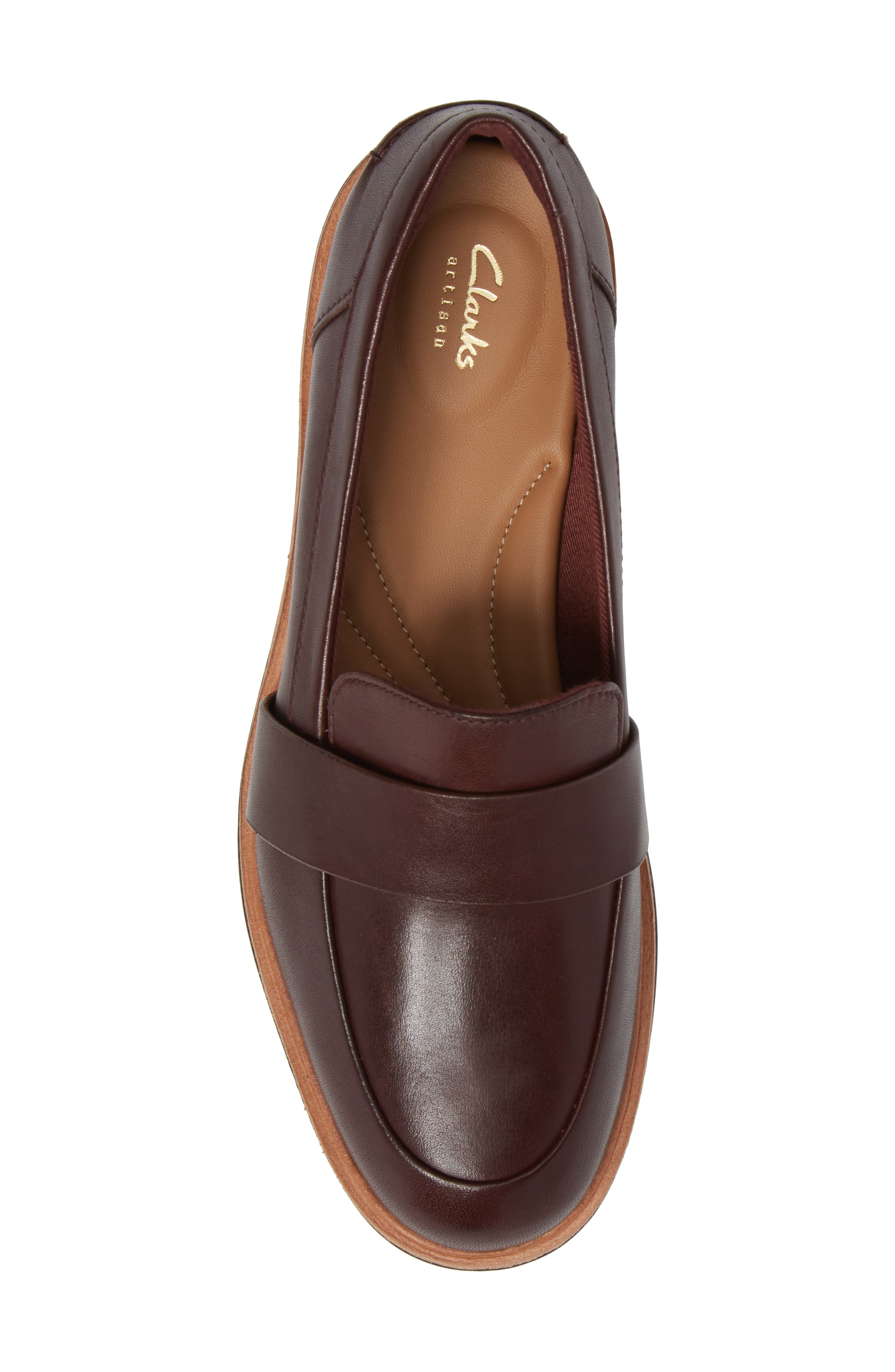 CLARKS<SUP>®</SUP>, Teadale Elsa Loafer, Alternate thumbnail 5, color, BURGUNDY LEATHER
