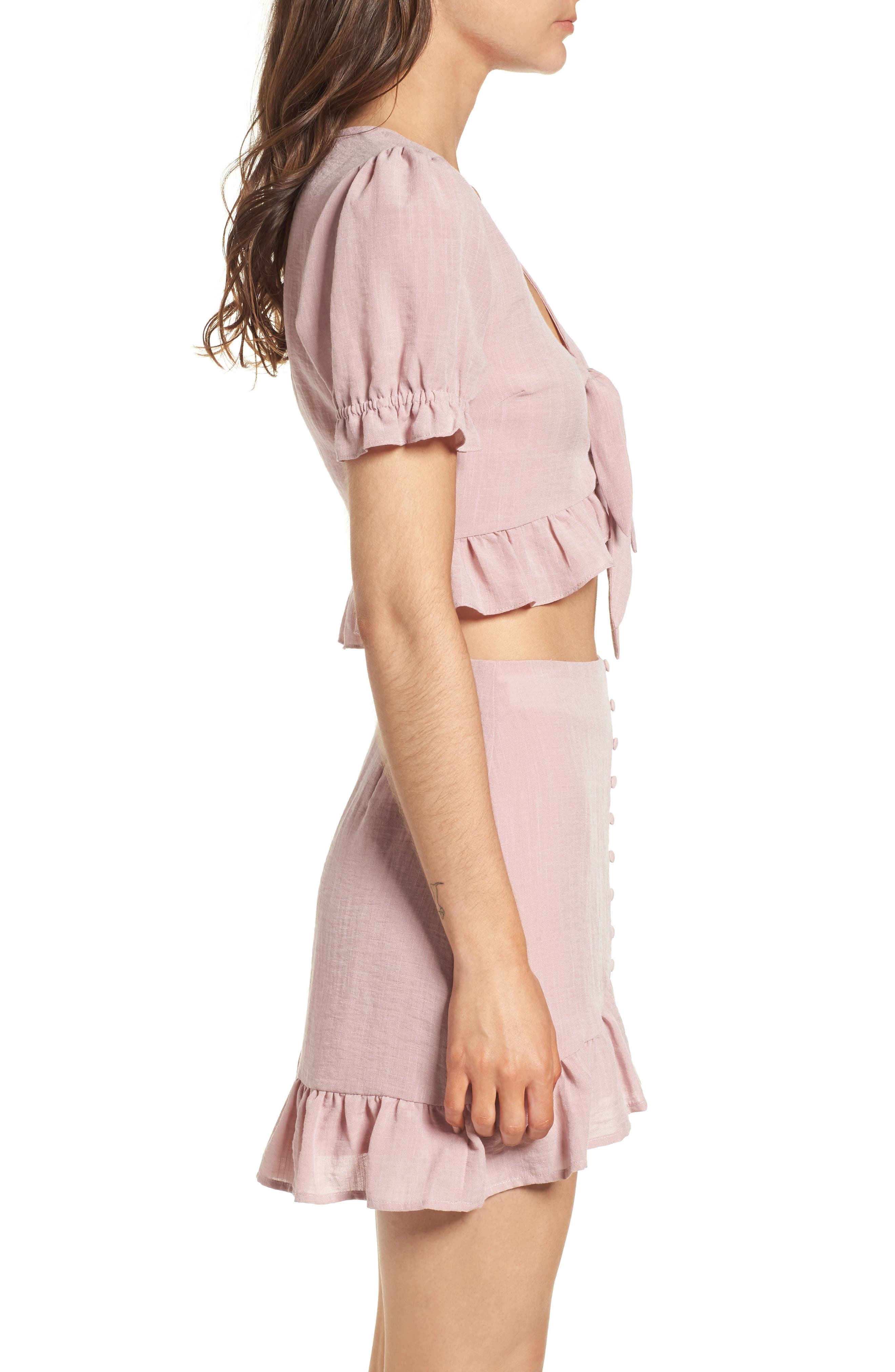 LOST + WANDER, Peony Ruffle Tie Front Crop Top, Alternate thumbnail 3, color, 681
