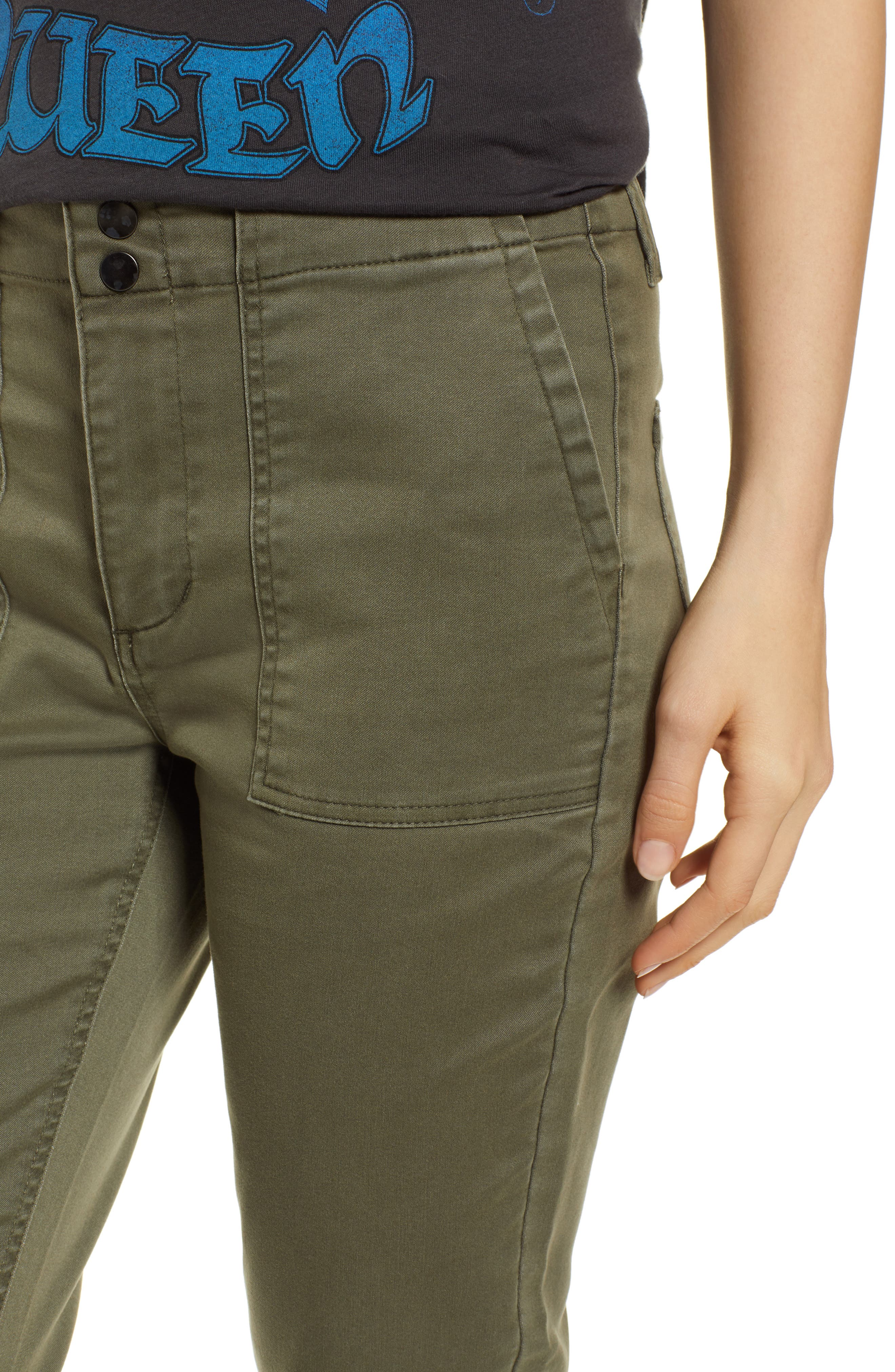 TINSEL, Cuffed Sateen Skinny Pants, Alternate thumbnail 5, color, DUSTY OLIVE