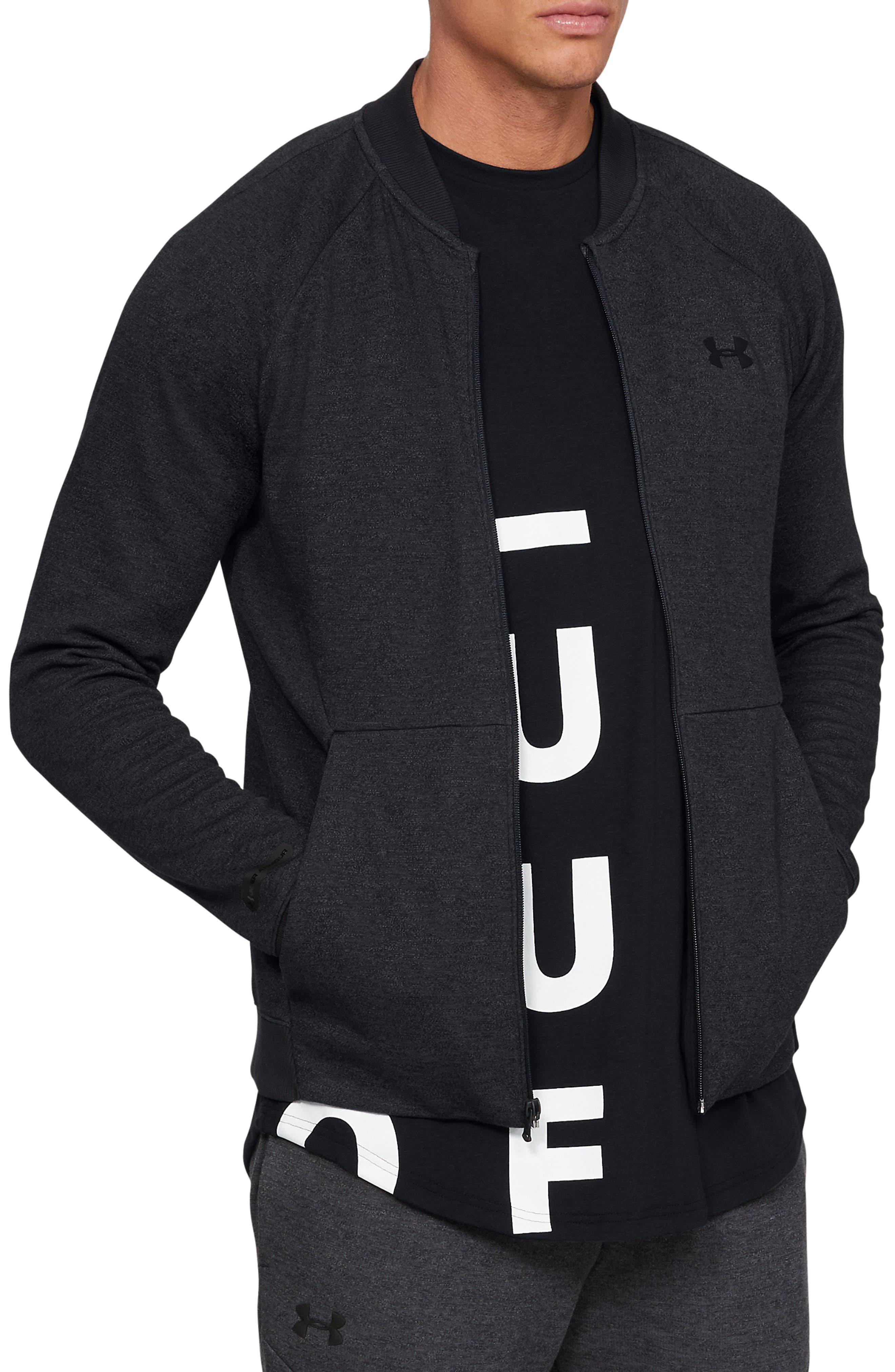 UNDER ARMOUR, Unstoppable Double Knit Bomber Jacket, Main thumbnail 1, color, BLACK/ BLACK/ BLACK