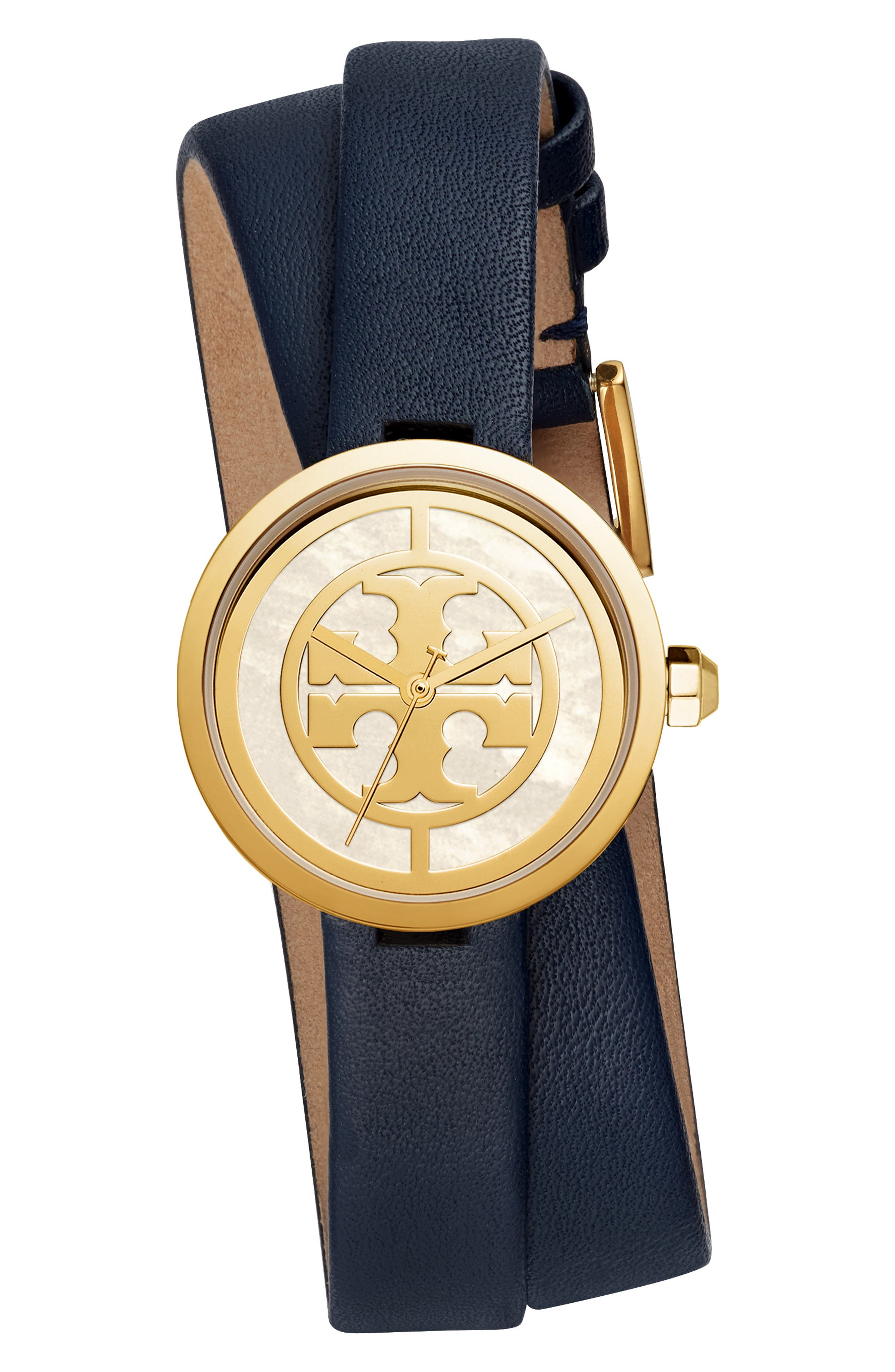 TORY BURCH, Reva Double Wrap Leather Strap Watch, 29mm, Main thumbnail 1, color, BLUE/ MOP/ GOLD