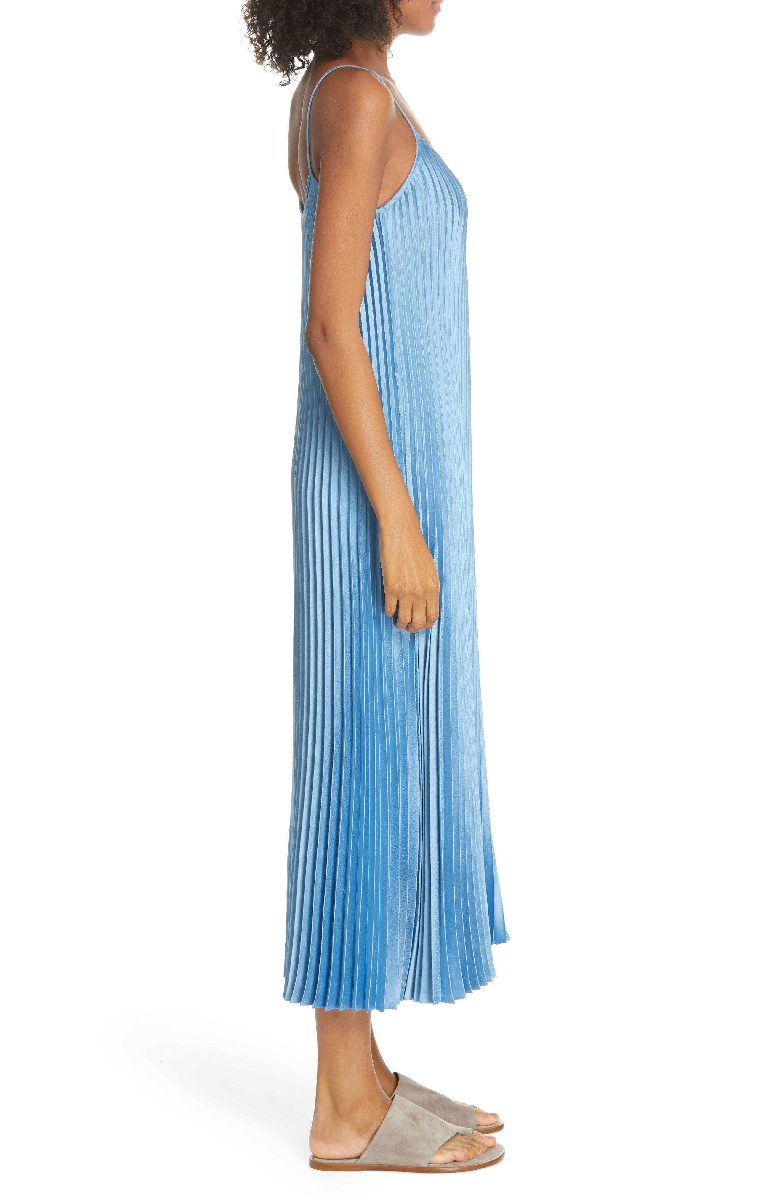 VINCE, Pleated Satin Slipdress, Alternate thumbnail 4, color, BLUE PUMICE