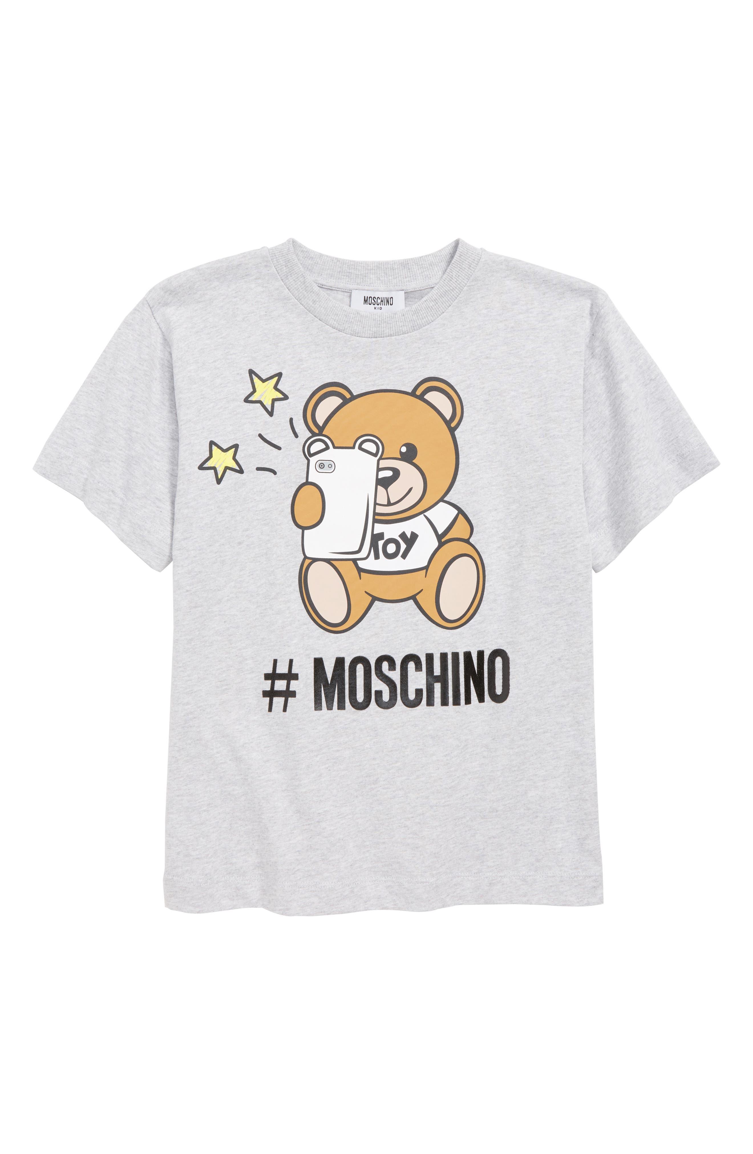 MOSCHINO, Logo Teddy Bear & Phone Screenprint Tee, Main thumbnail 1, color, 60901 GREY