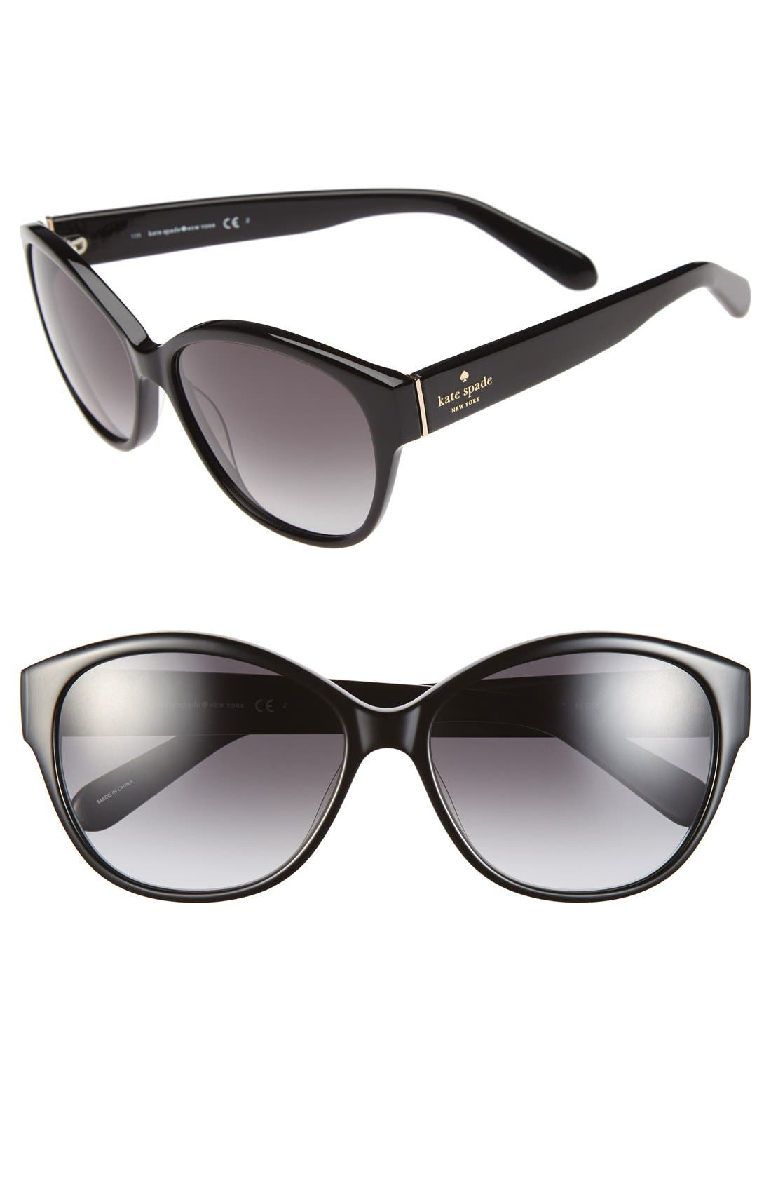 KATE SPADE NEW YORK 56mm sunglasses, Main, color, 001