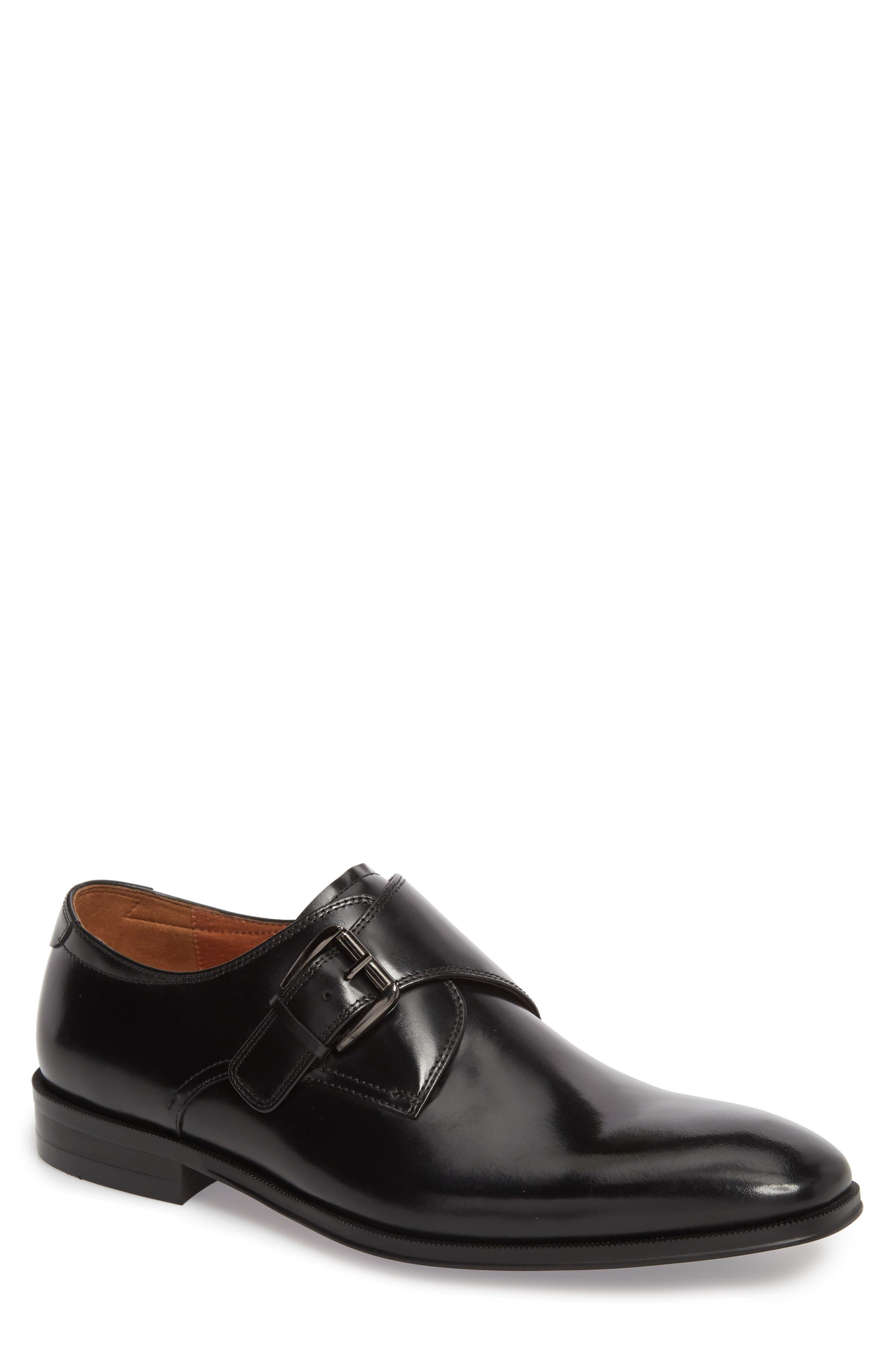 FLORSHEIM, Belfast Single Strap Monk Shoe, Main thumbnail 1, color, BLACK LEATHER