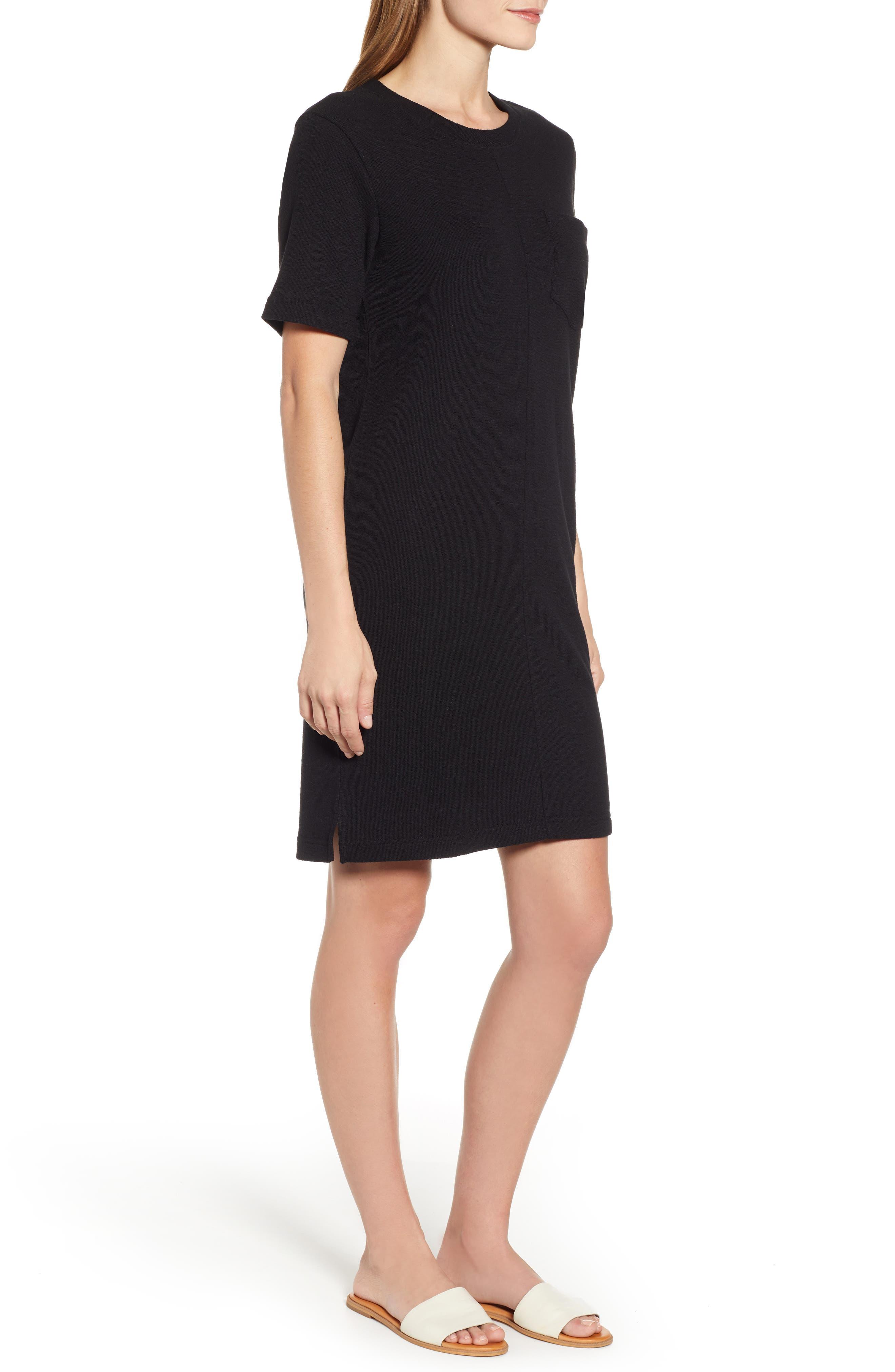 CASLON<SUP>®</SUP>, T-Shirt Dress, Alternate thumbnail 4, color, BLACK