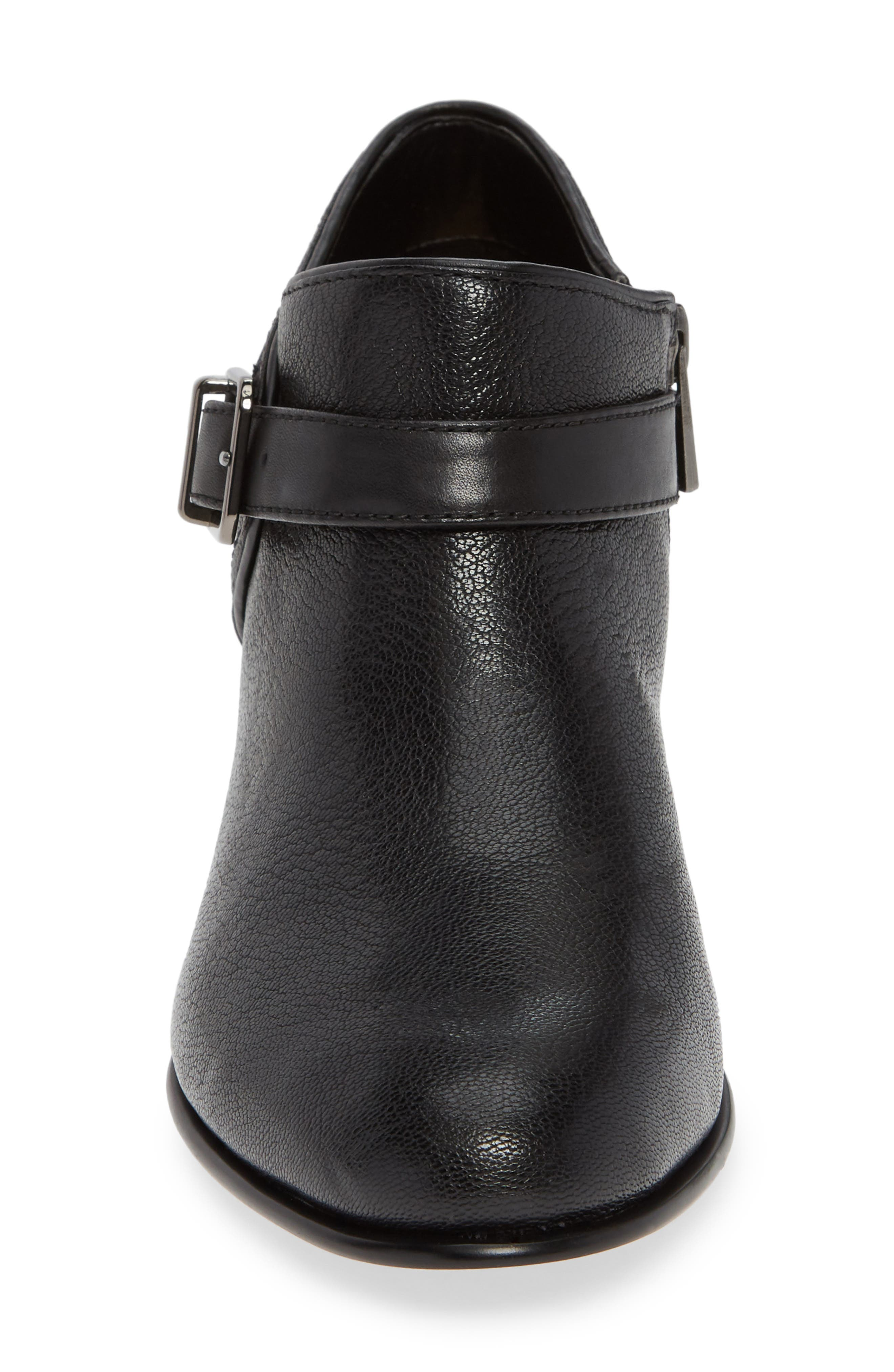 CLARKS<SUP>®</SUP>, Maypearl Milla Bootie, Alternate thumbnail 4, color, BLACK TUMBLED LEATHER