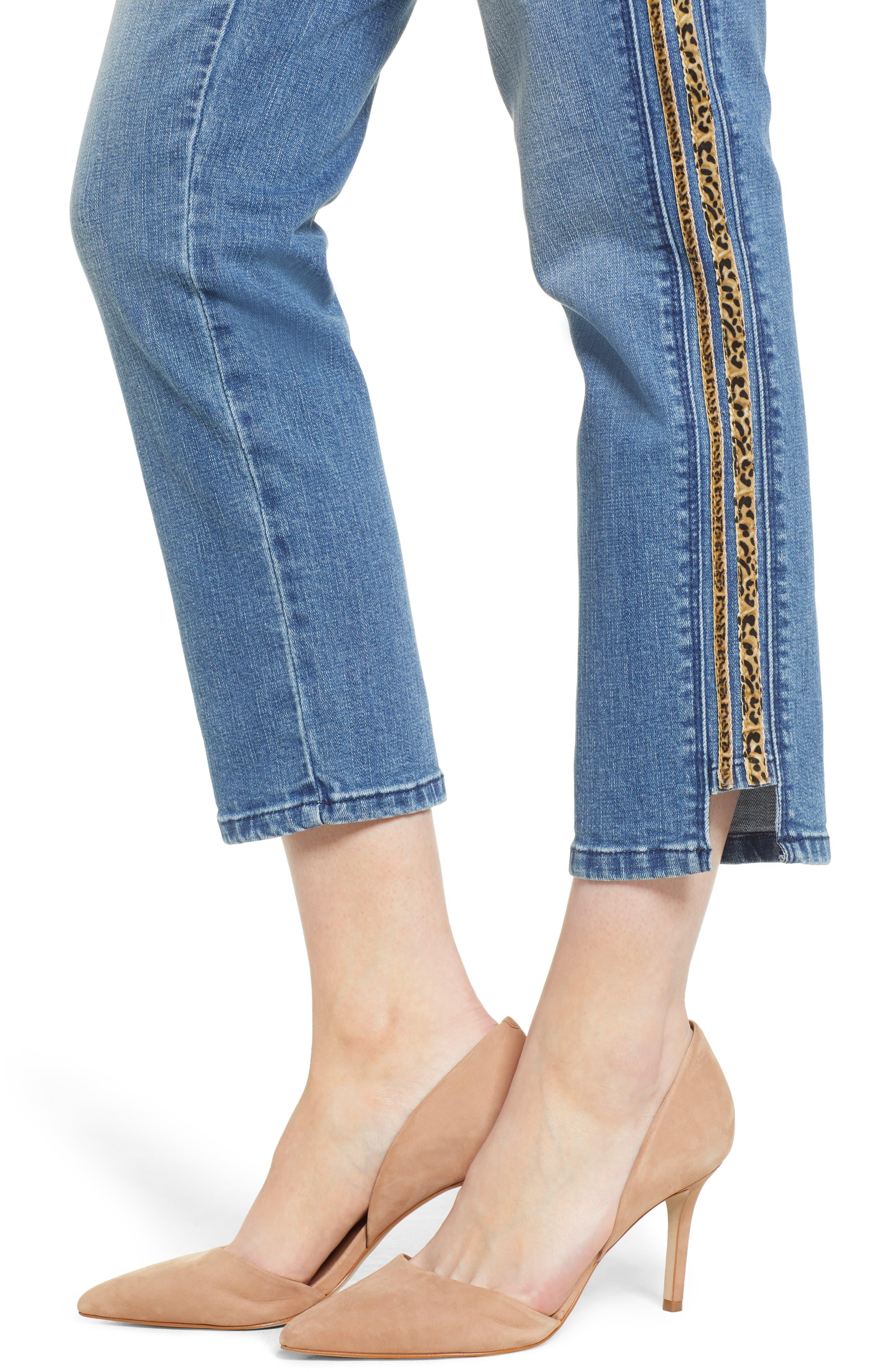 WIT & WISDOM, Flex-ellent Leopard Stripe Slim Straight Leg Jeans, Alternate thumbnail 5, color, 420