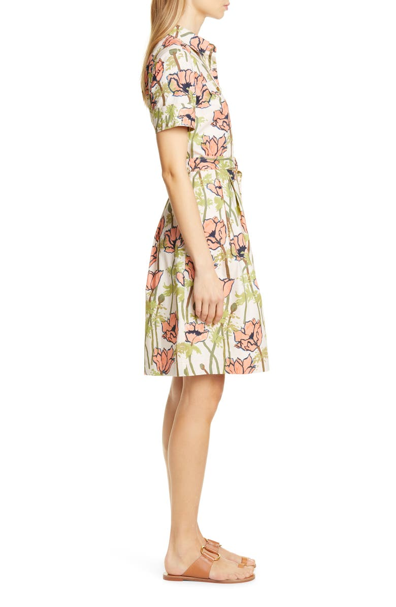 65a7f60936 Tory Burch Derrick Floral Belted Flare Shirtdress In Pink Poppies Bloom