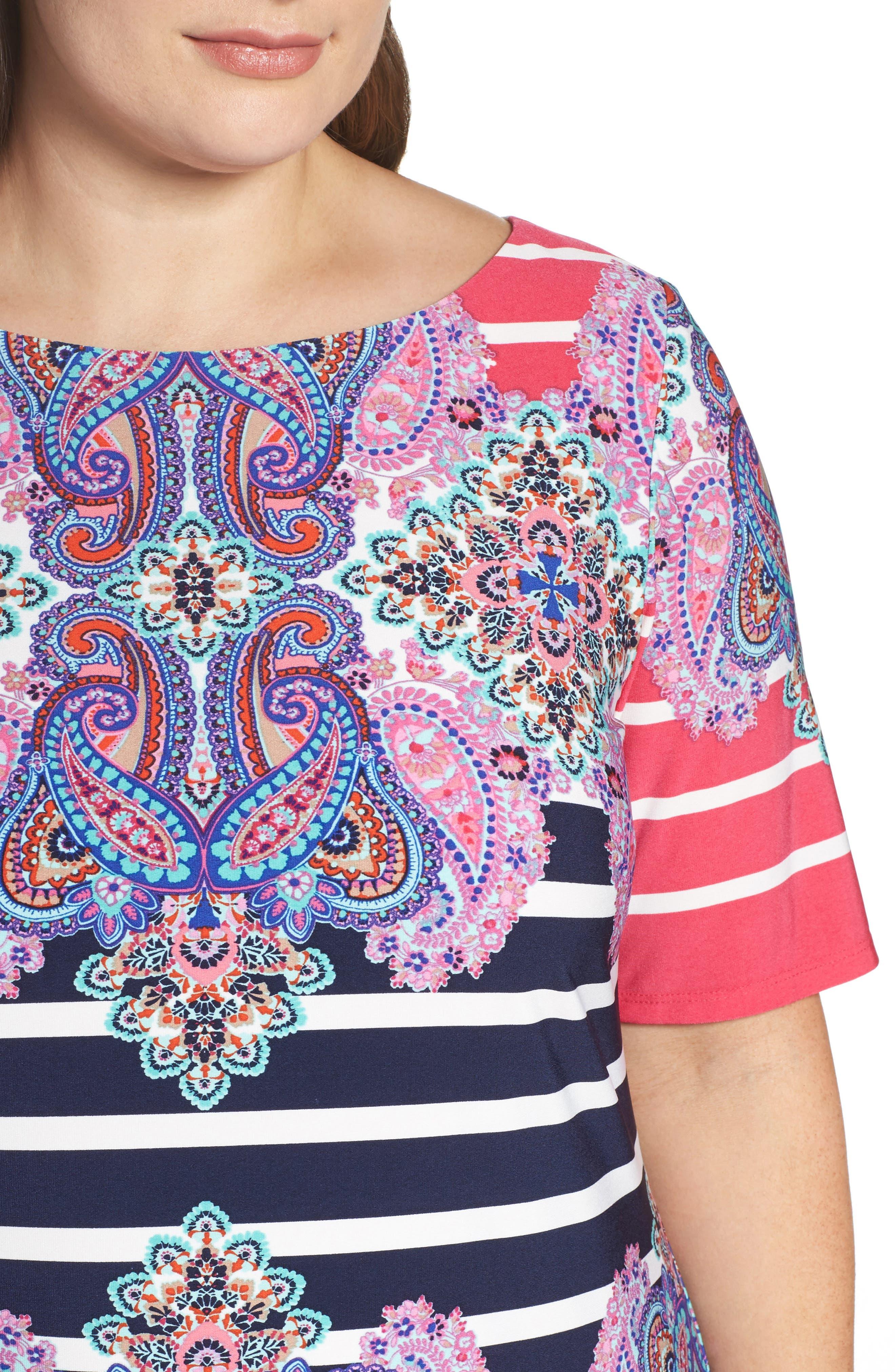 ELIZA J, Stripe & Paisley Shift Dress, Alternate thumbnail 4, color, 698