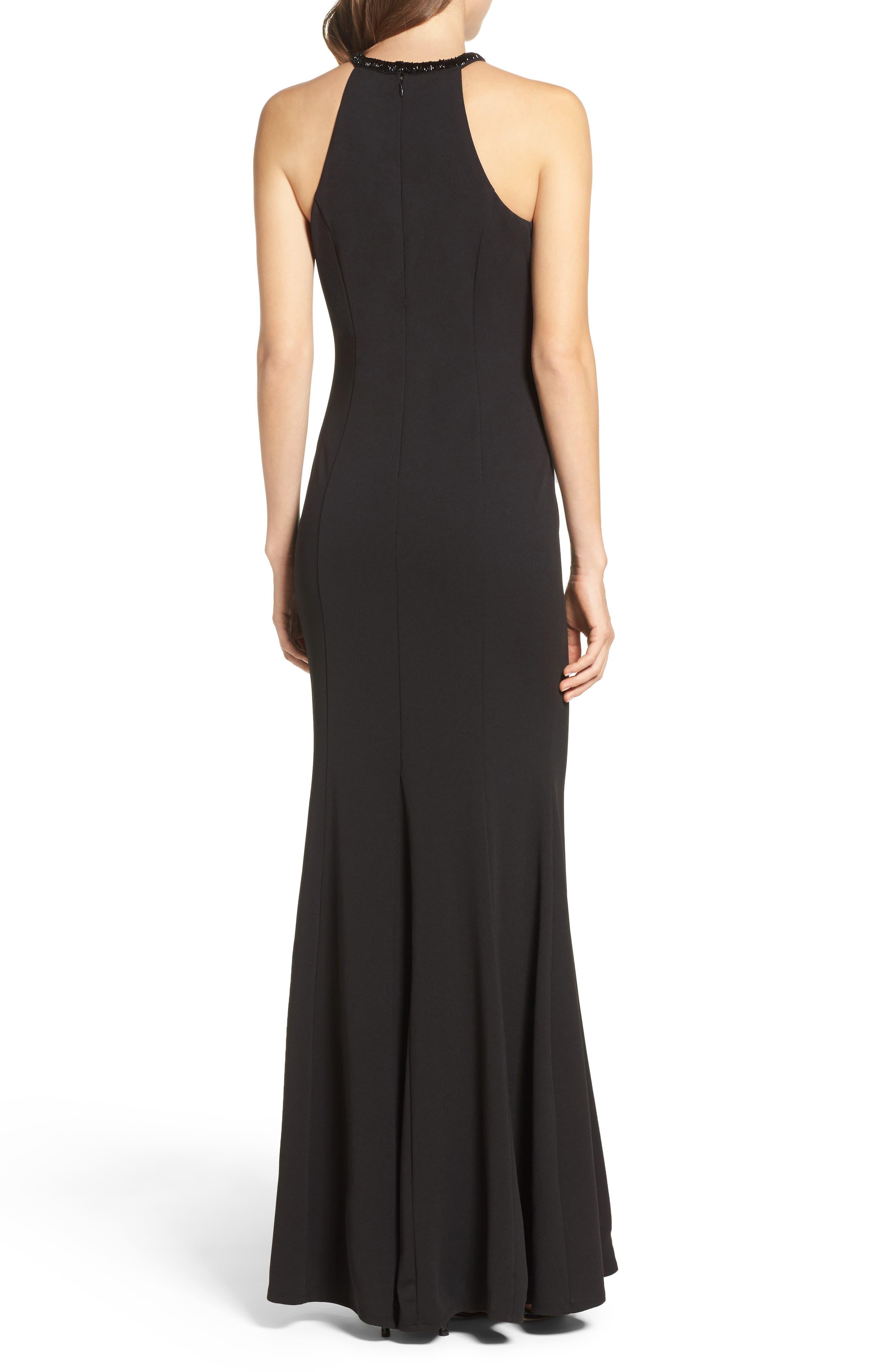 LULUS, Bead Neck Mermaid Gown, Alternate thumbnail 2, color, BLACK