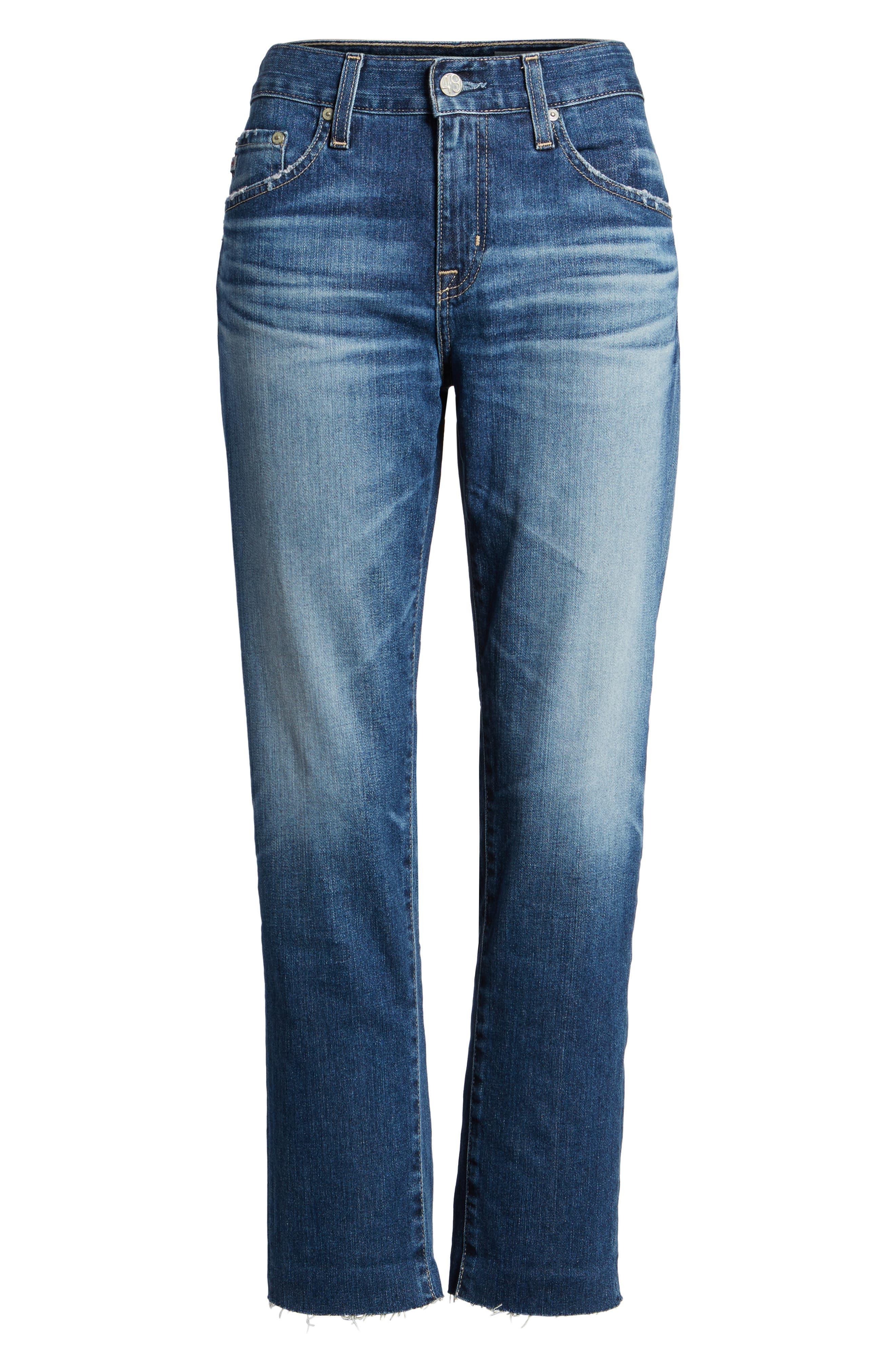 AG, The Ex Boyfriend Crop Jeans, Alternate thumbnail 7, color, 12 YEARS BLUE AURA