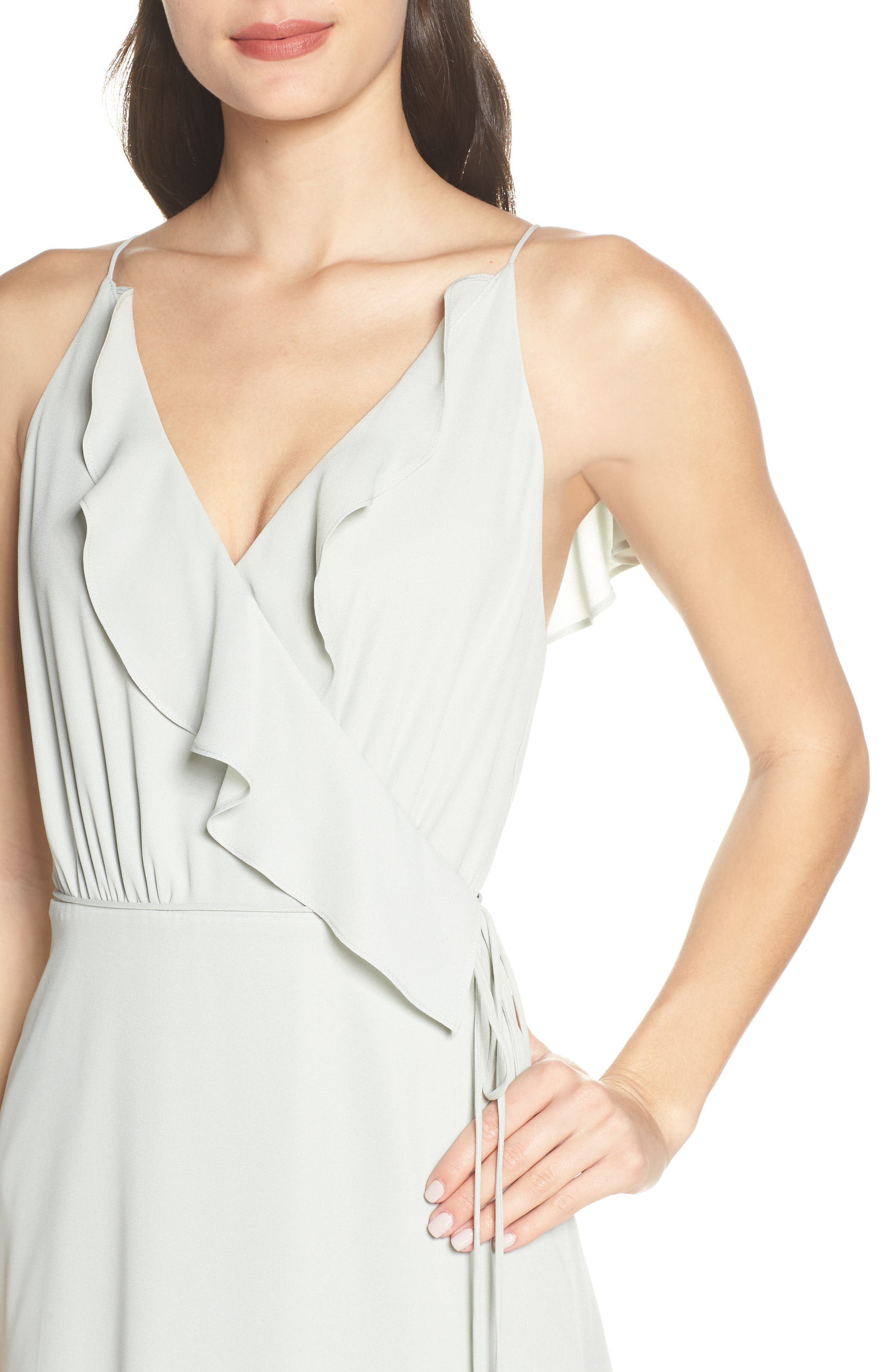WAYF, Jamie Ruffle Wrap Gown, Alternate thumbnail 5, color, SAGE