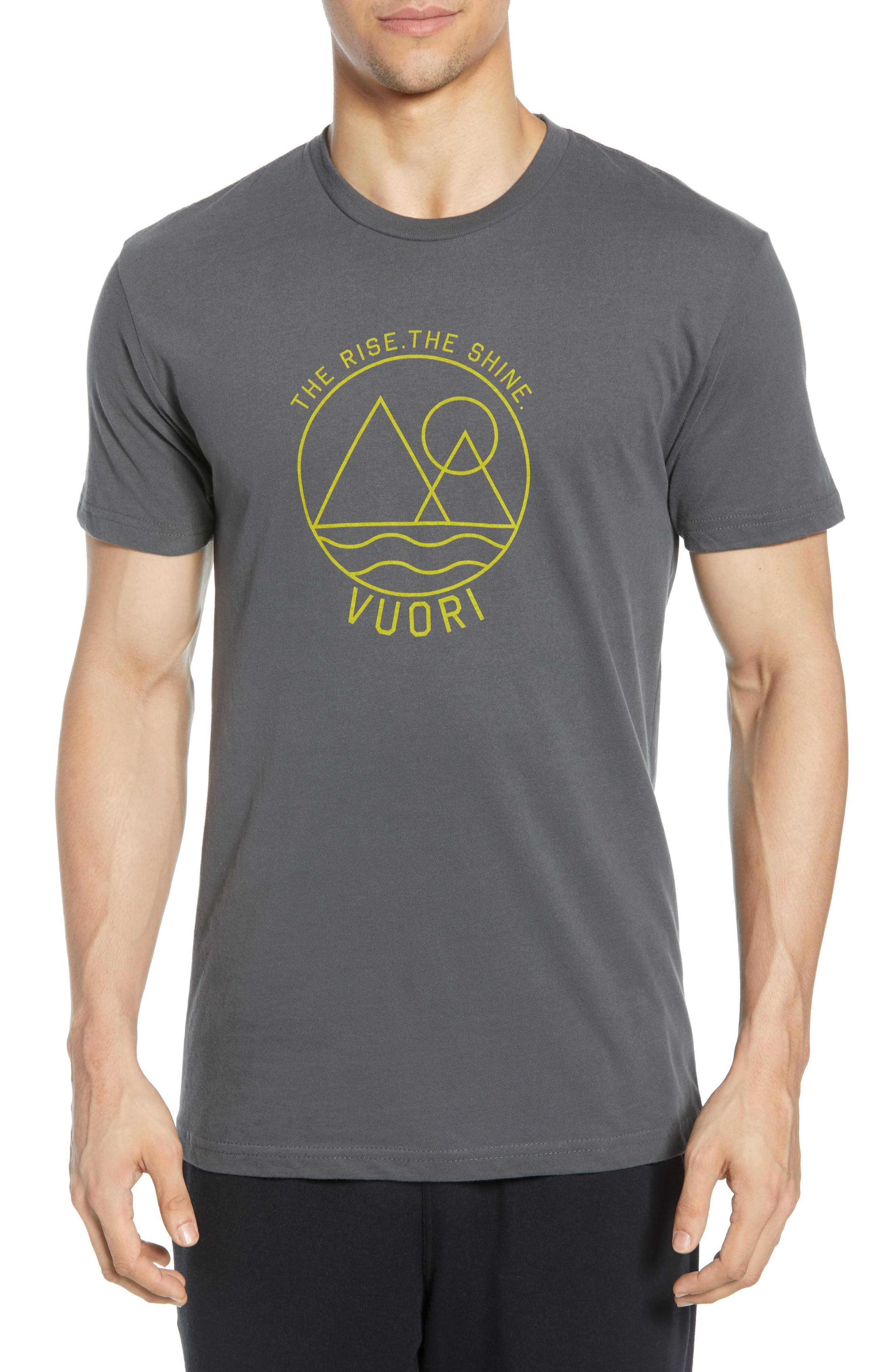 VUORI, The Rise The Shine Graphic T-Shirt, Main thumbnail 1, color, CHARCOAL