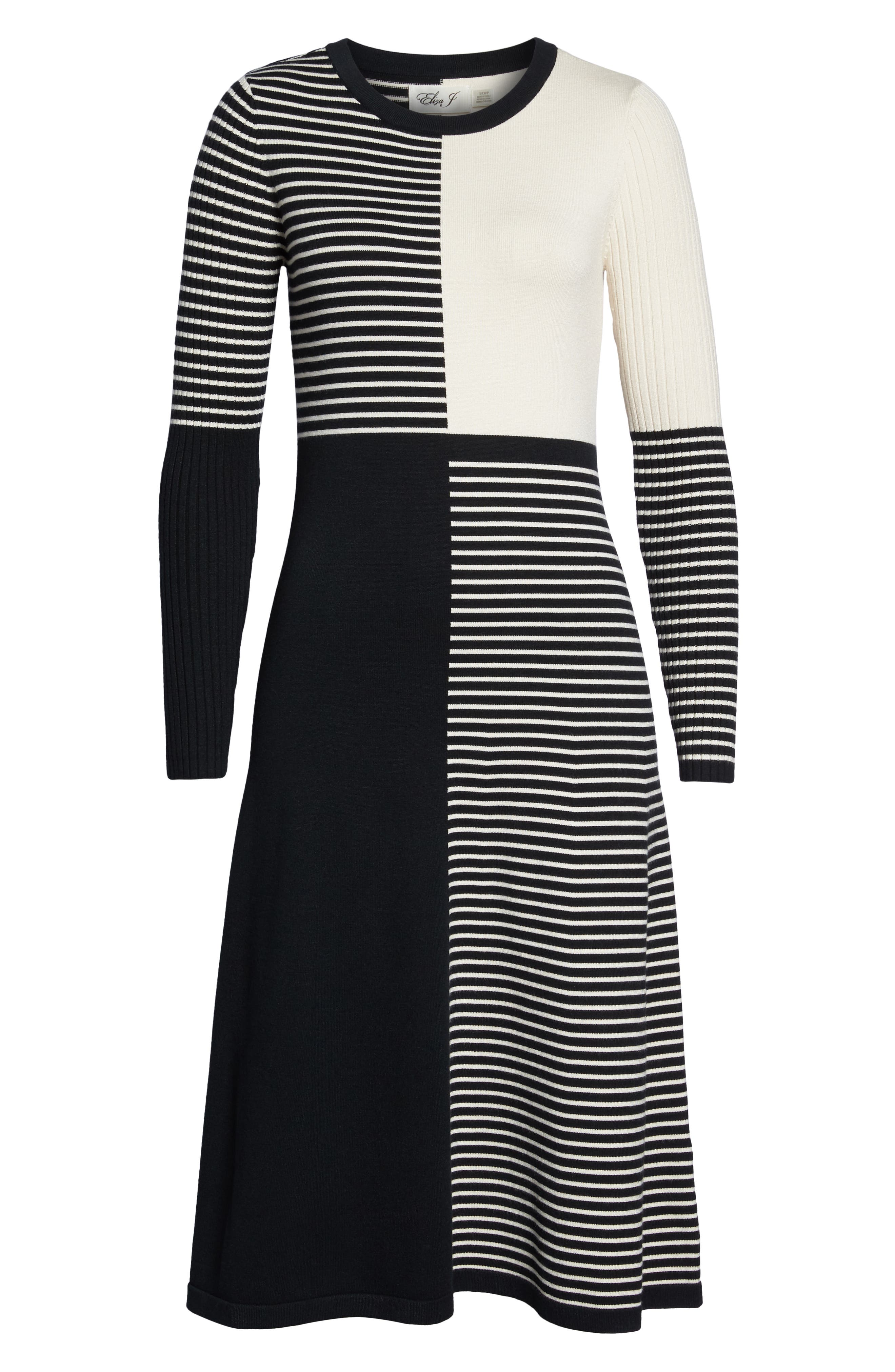 ELIZA J, Placed Stripe Sweater Dress, Alternate thumbnail 7, color, 900