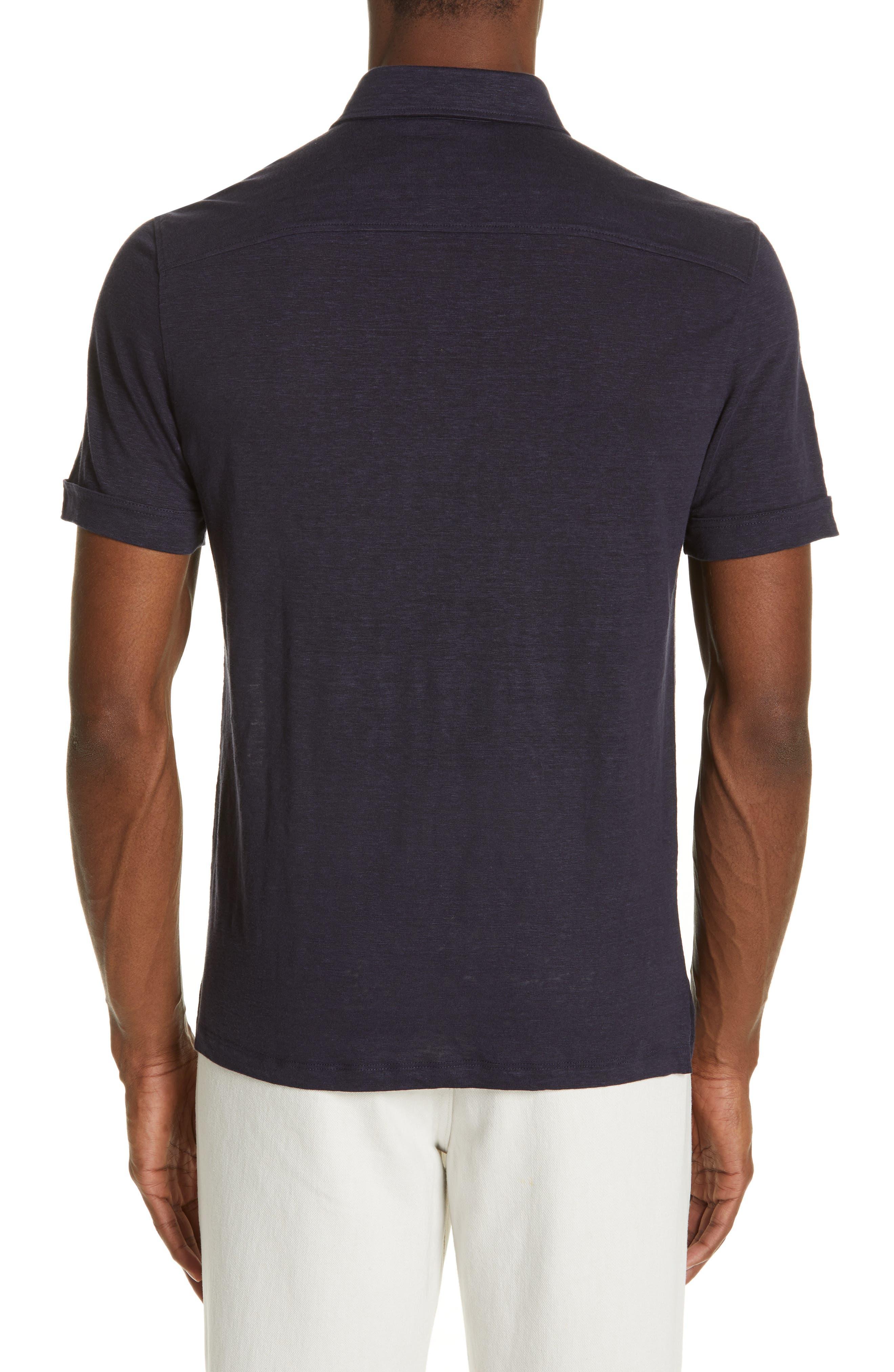 ERMENEGILDO ZEGNA, Ermenegilda Zegna Linen Polo Shirt, Alternate thumbnail 2, color, NAVY
